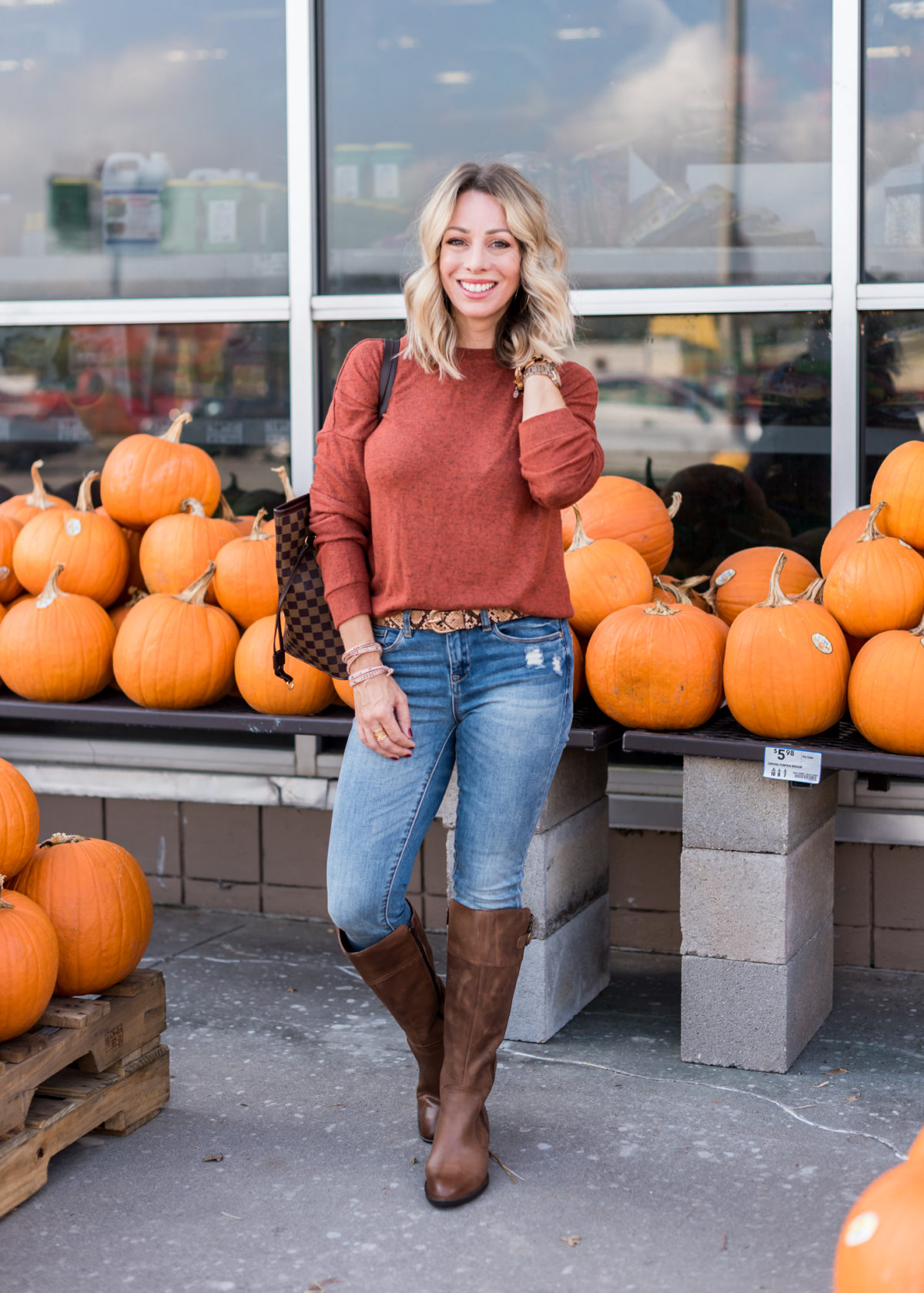 Nordstrom Rack-Sweater, Jeans and Knee Boots
