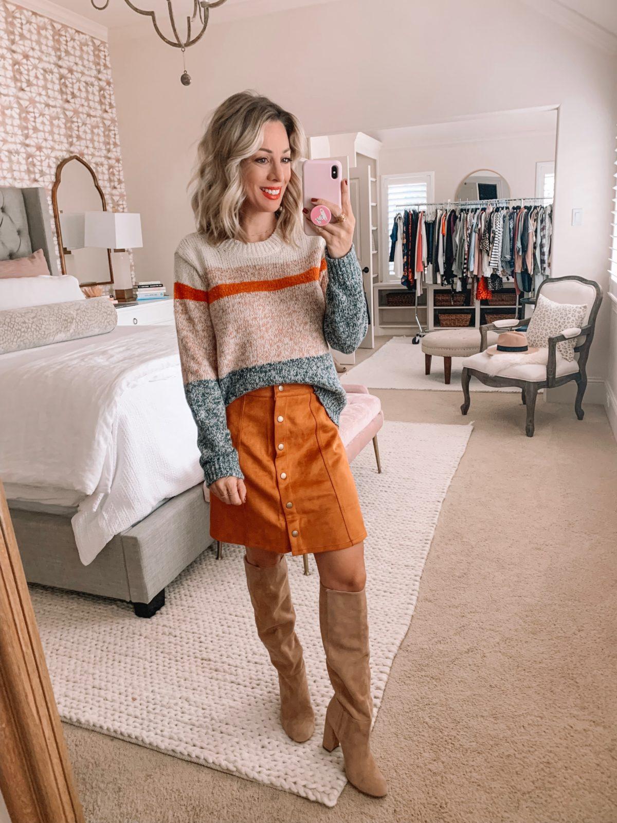 Amazon Prime Fashion- Sweater and Corduroy Skirt