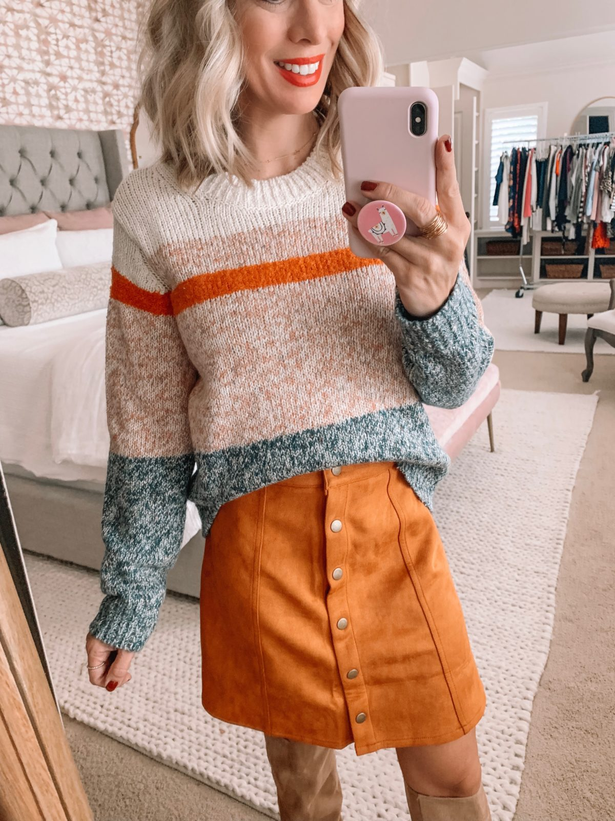 Amazon Prime Fashion- Sweater and Corduroy Skirt