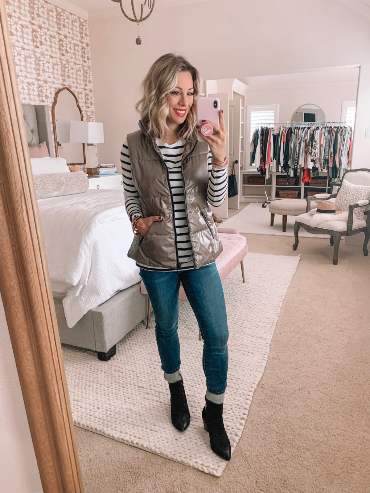 Amazon Prime Fashion- Striped Top, Vest and Jeans