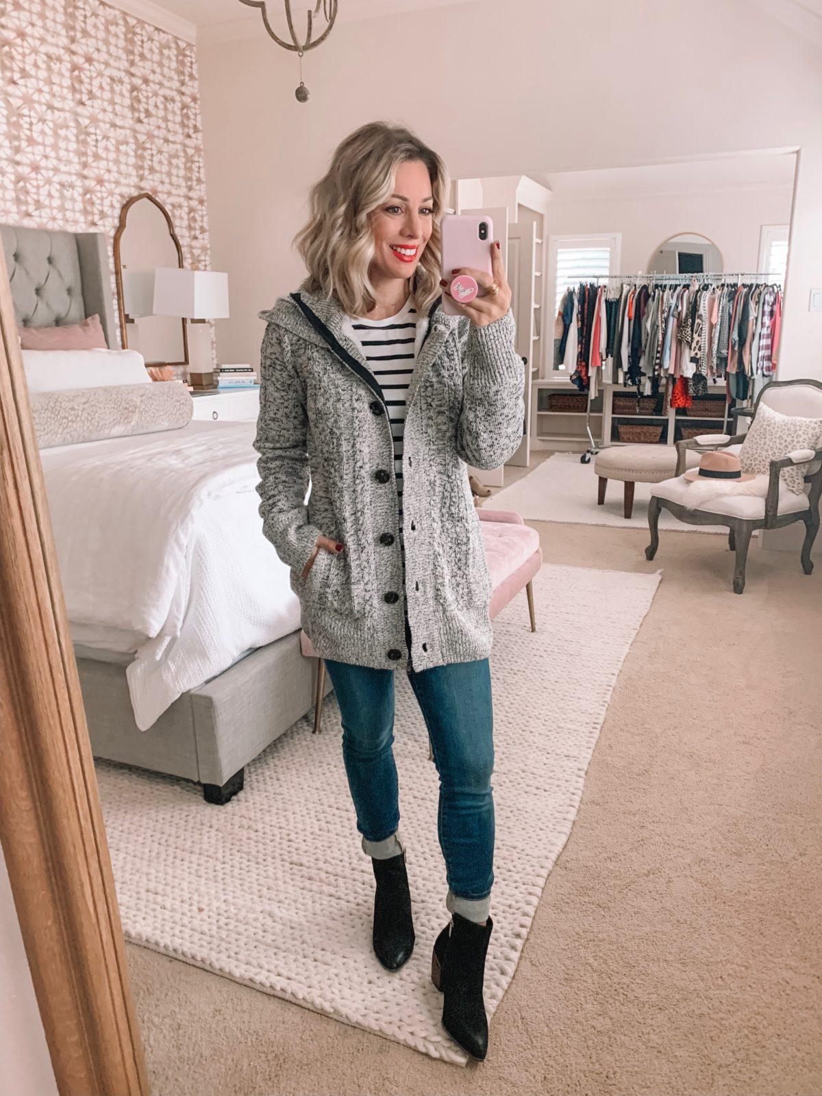 Amazon Prime Fashion- Striped Top and Coat