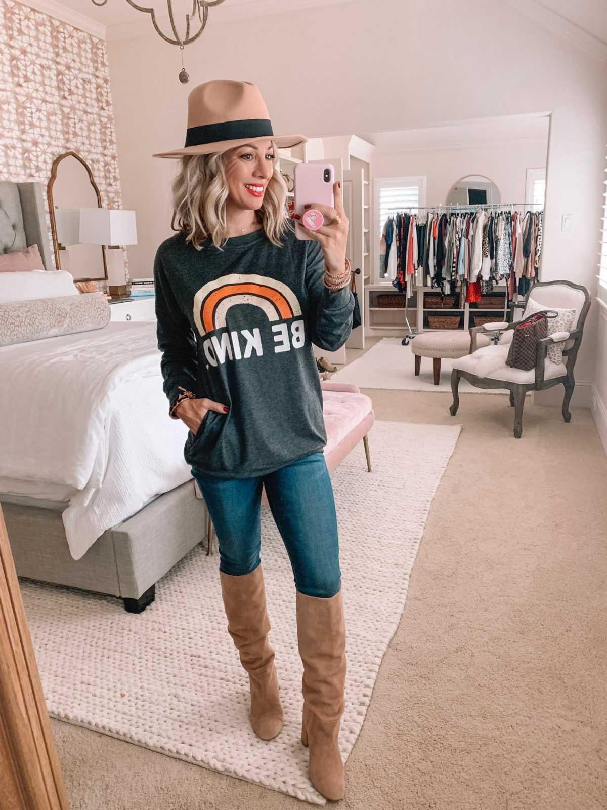 Amazon Prime Fashion- Be Kind Top, Hat and Jeans