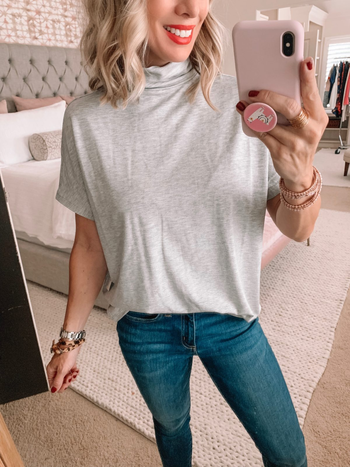 Amazon Prime Fashion- Grey Pullover and Jeans