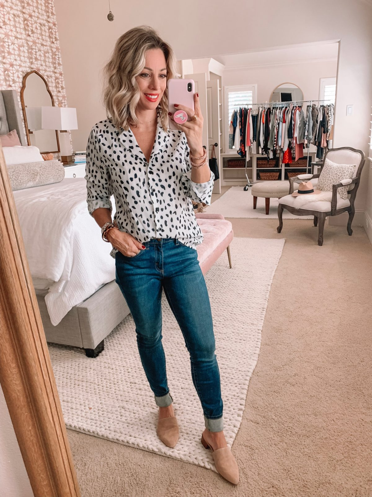 Amazon Prime Fashion- Leopard Button Down and Jeans