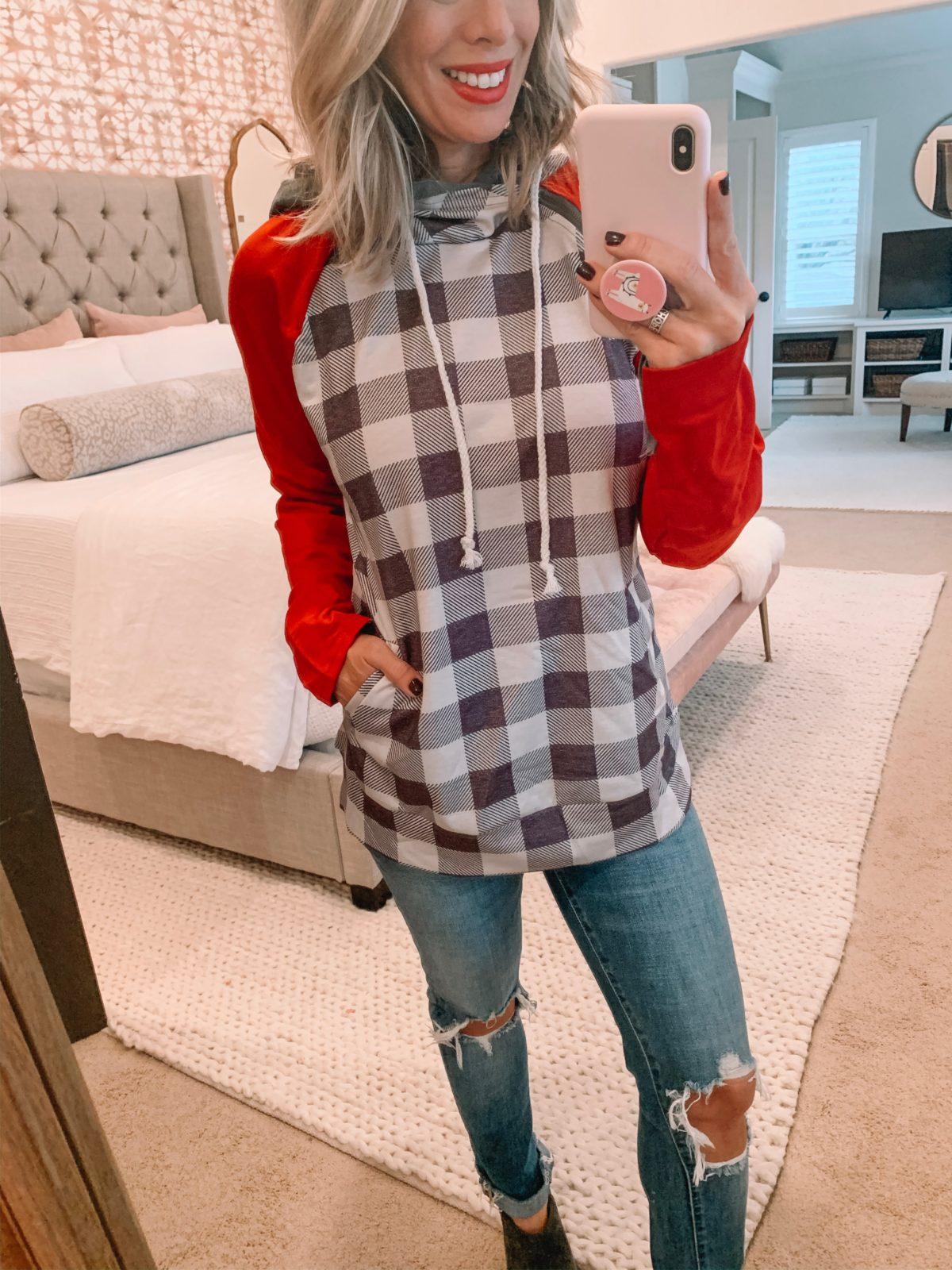 Amazon Checkered Sweatshirt