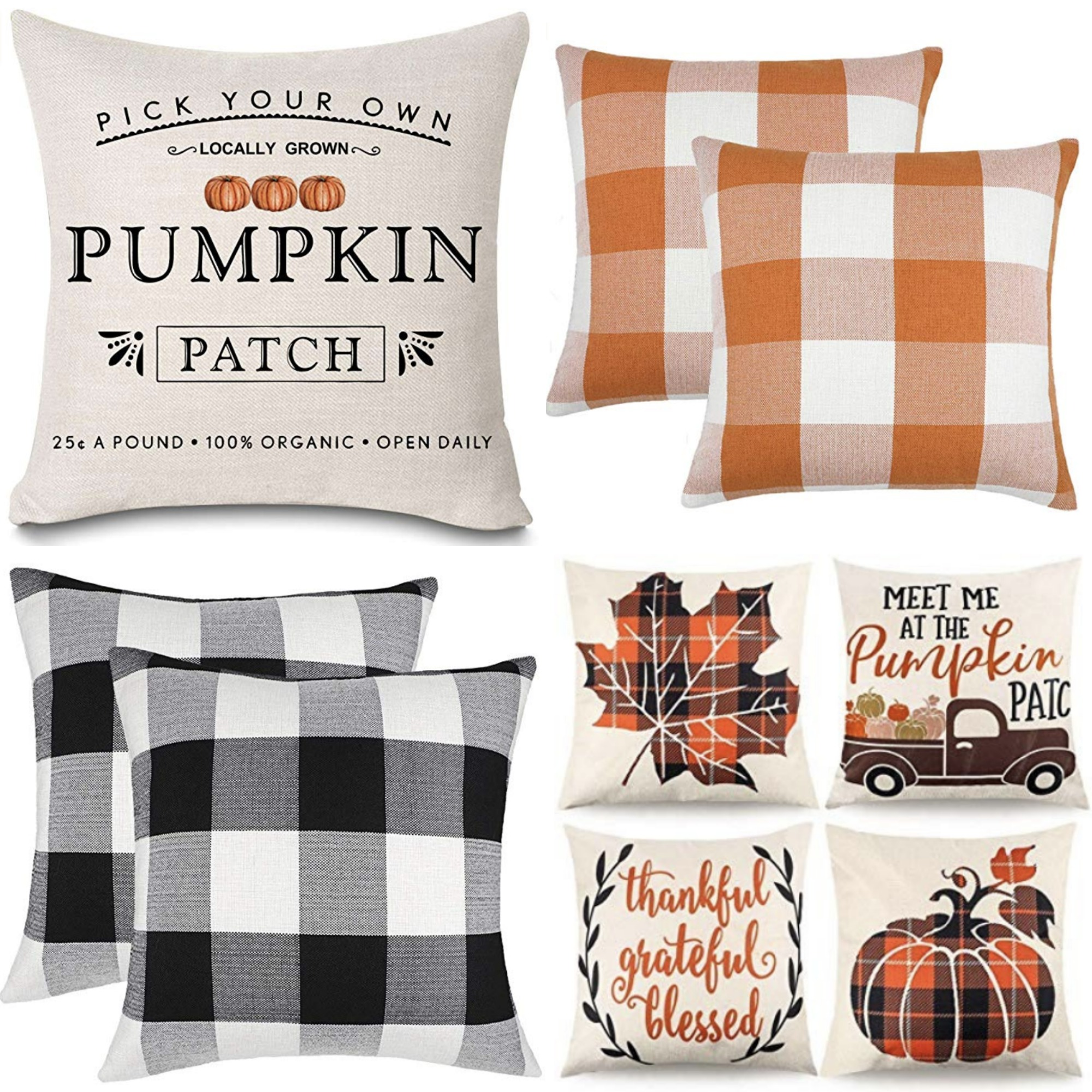 HAPYLY Set of 4 Pumpkin Cushion Cover Case Throw Pillow Cover Cotton Blend with Zipper Happy Fall Yall Pumpkin Thanksgiving Halloween for Home Sofa Decorative 18 x 18 inch