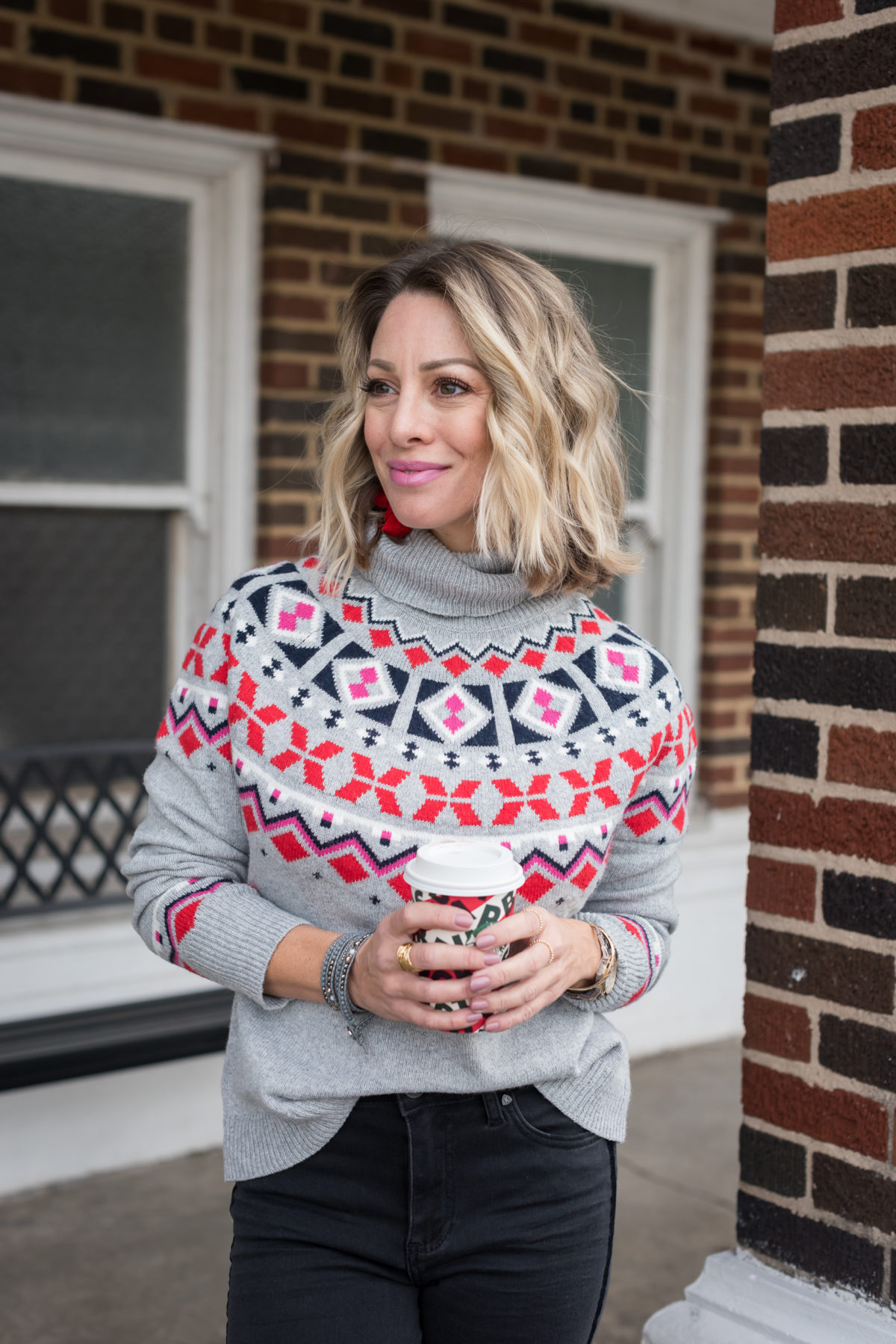 Winter outfit - fair isle sweater and jeans
