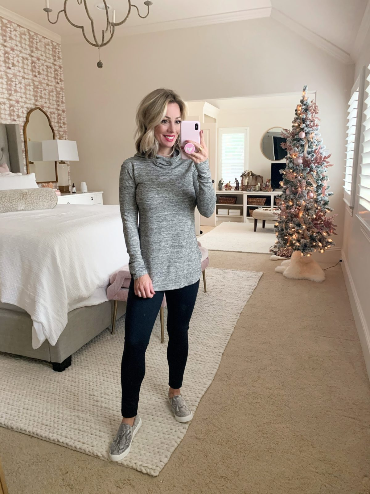 Amazon gray pullover and black leggings