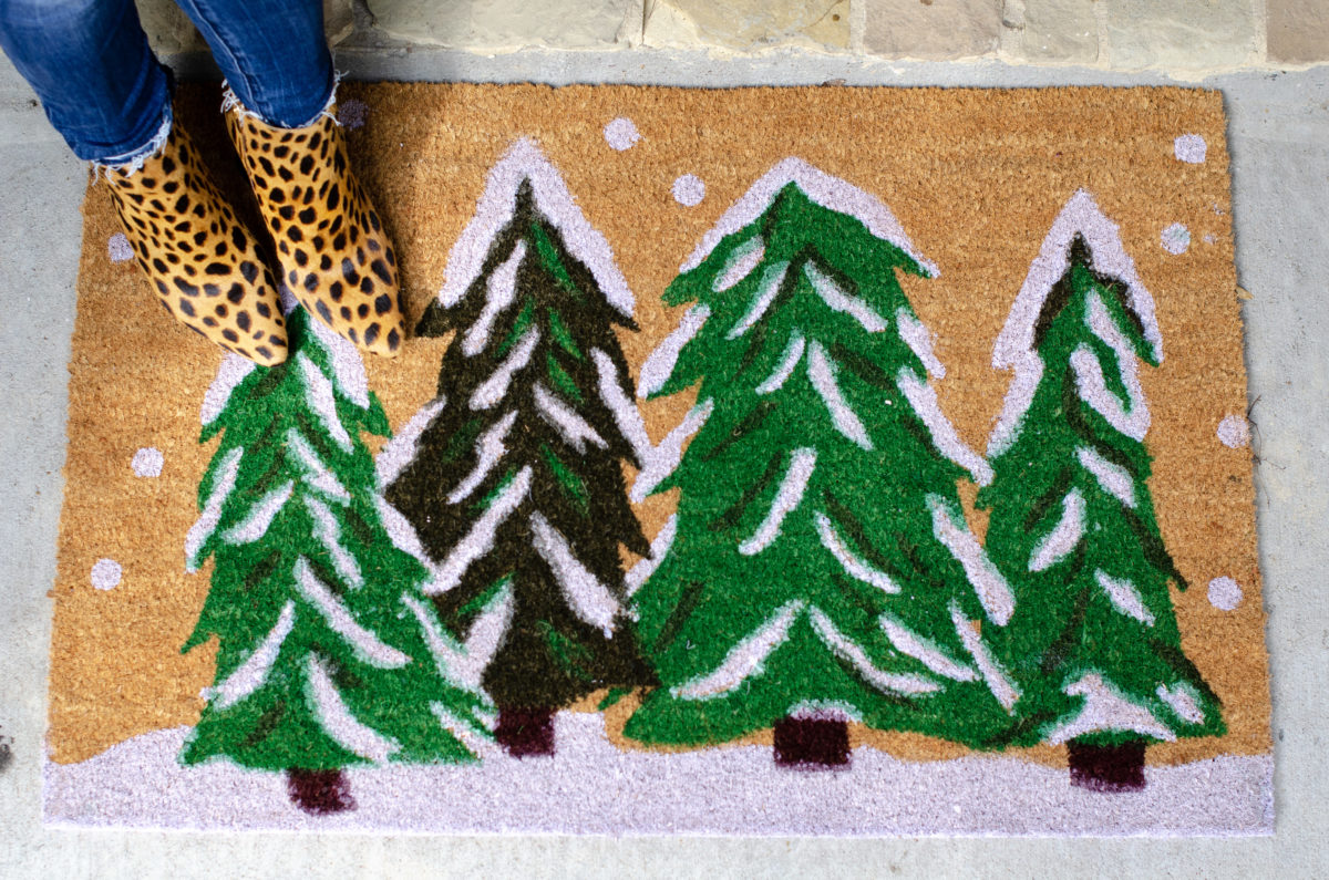 Leopard booties, tree doormat