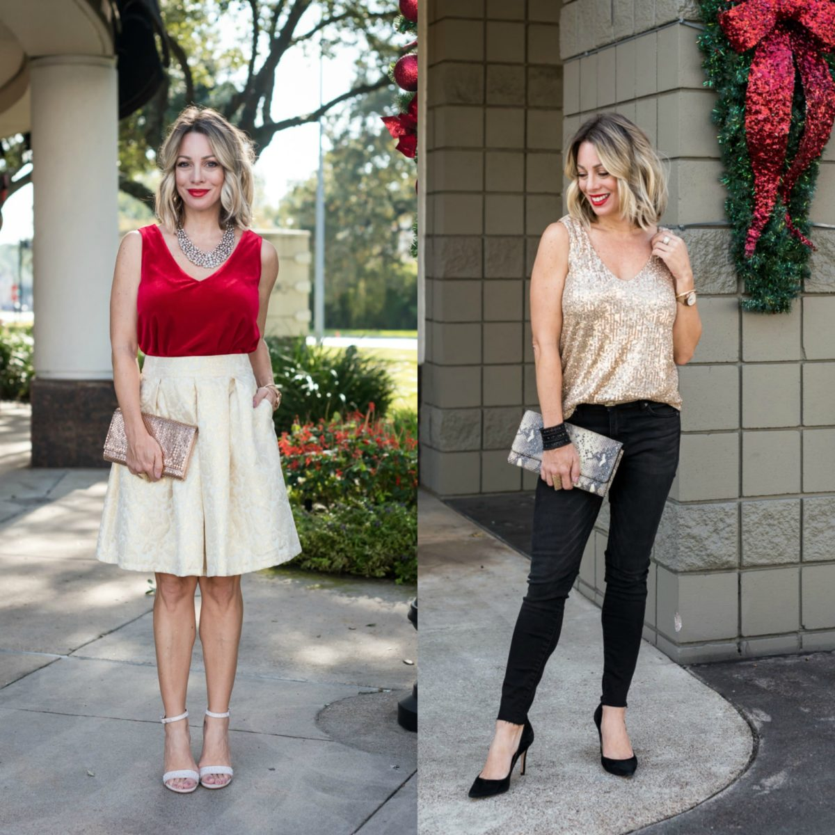 two holiday party outfits
