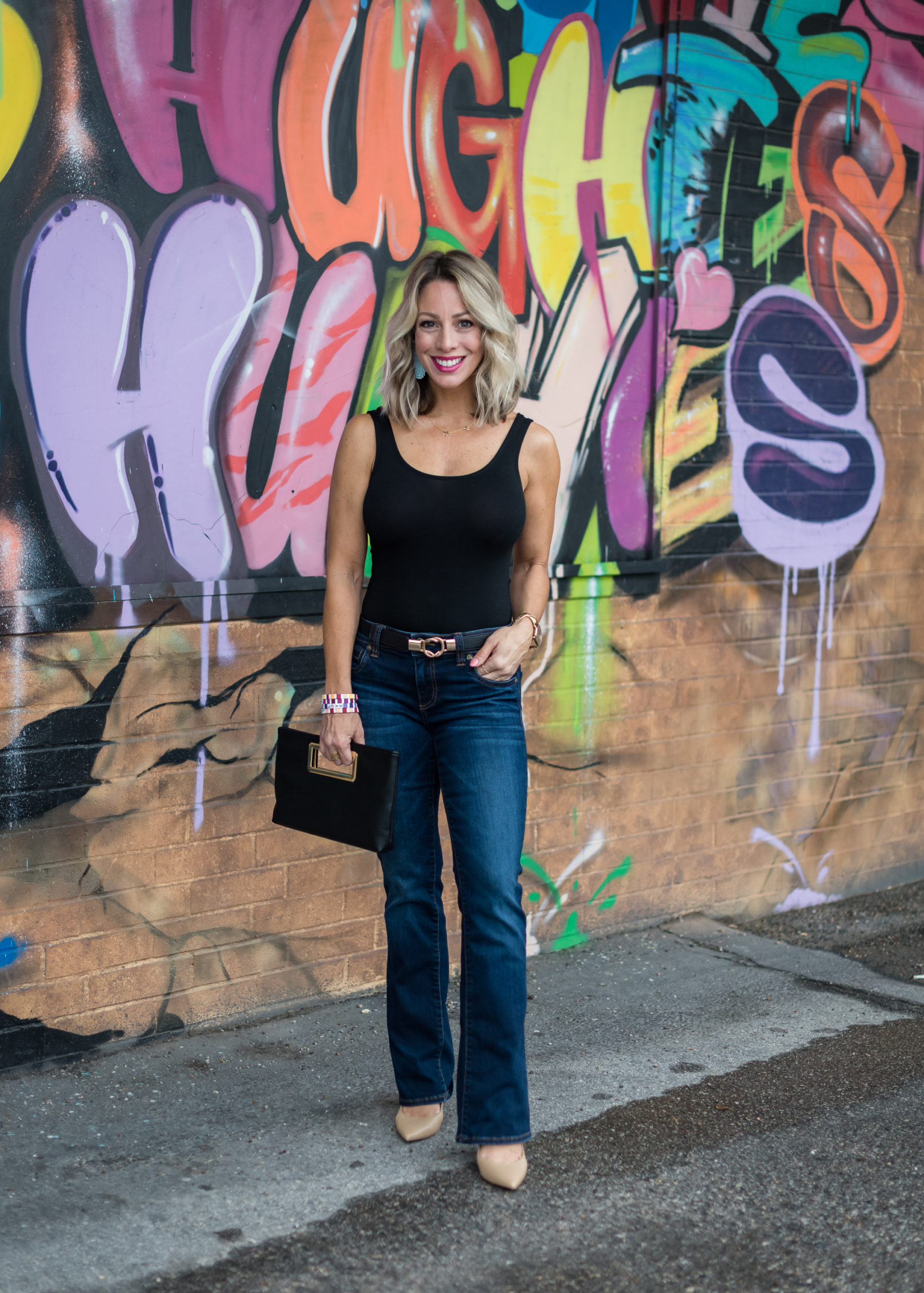 spring outfit bodysuit and jeans