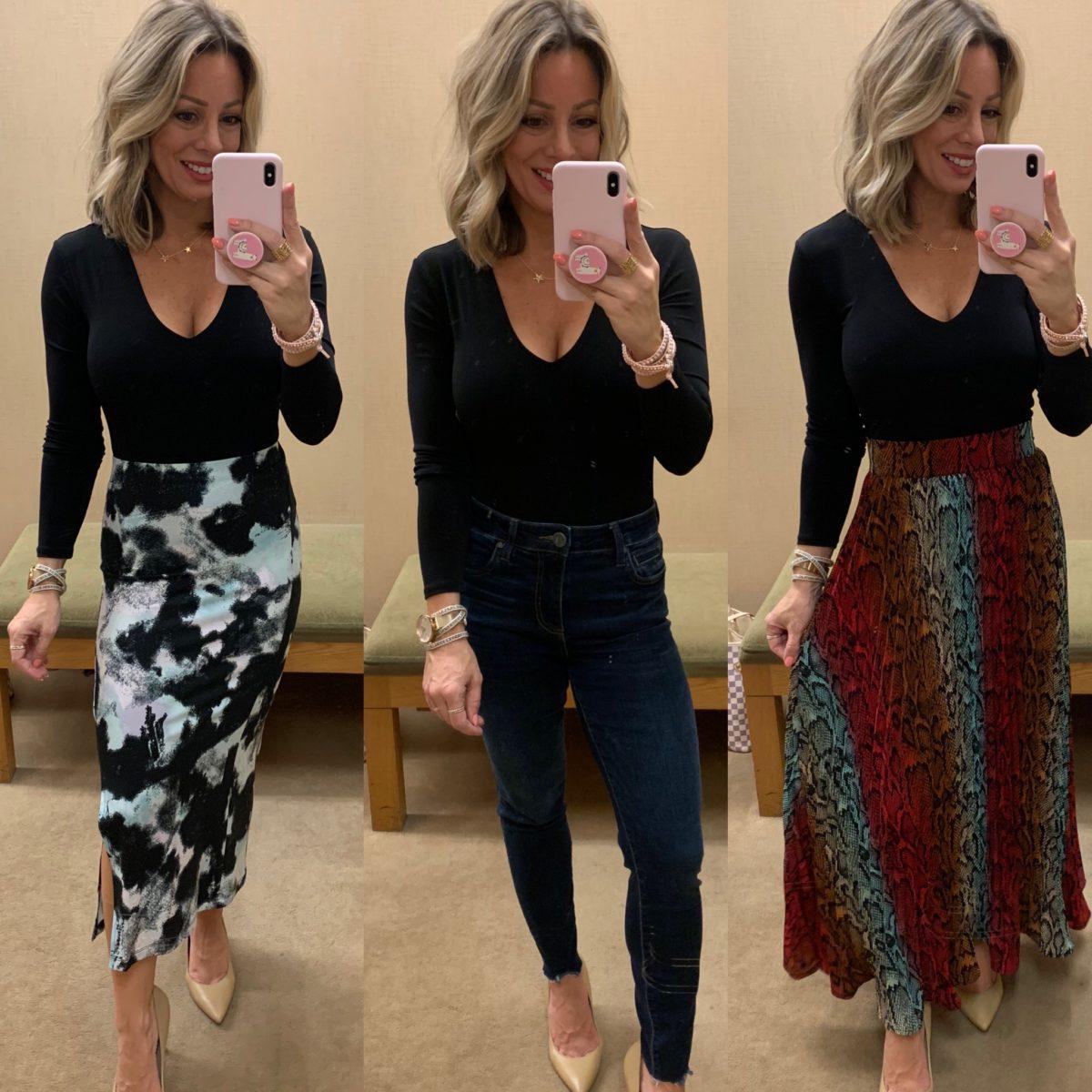 Black Bodysuit, Tie Dye Skirt, Skinny Jeans, Snakeskin Skirt