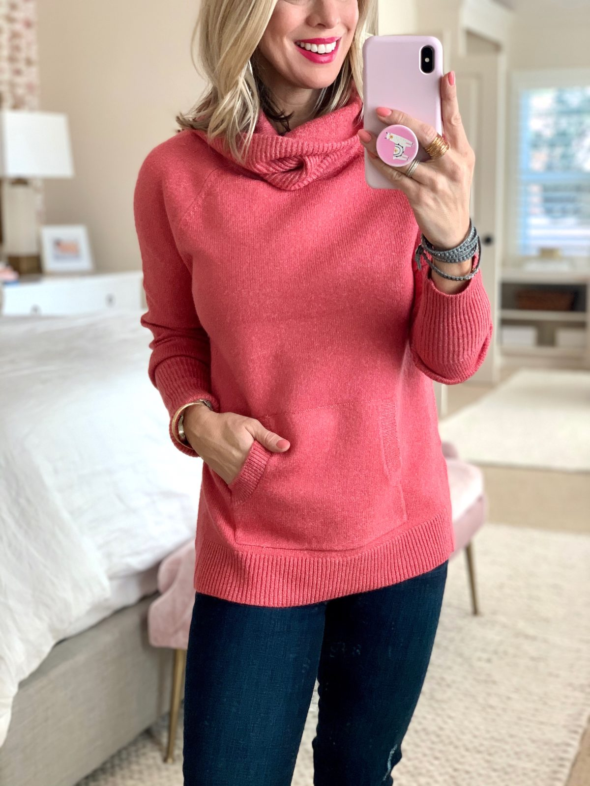 Pink Turtleneck Sweater with Kangaroo Pocket
