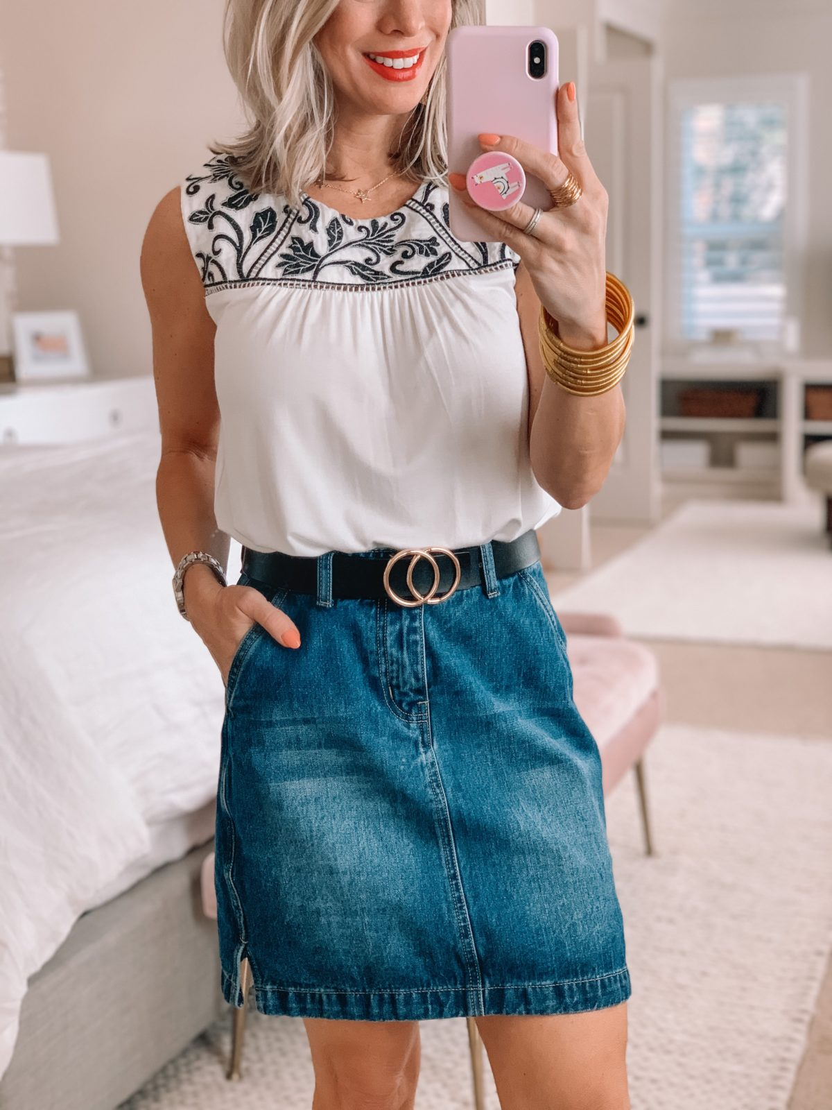 White Gibson Top, Denim Skirt, Circle Belt