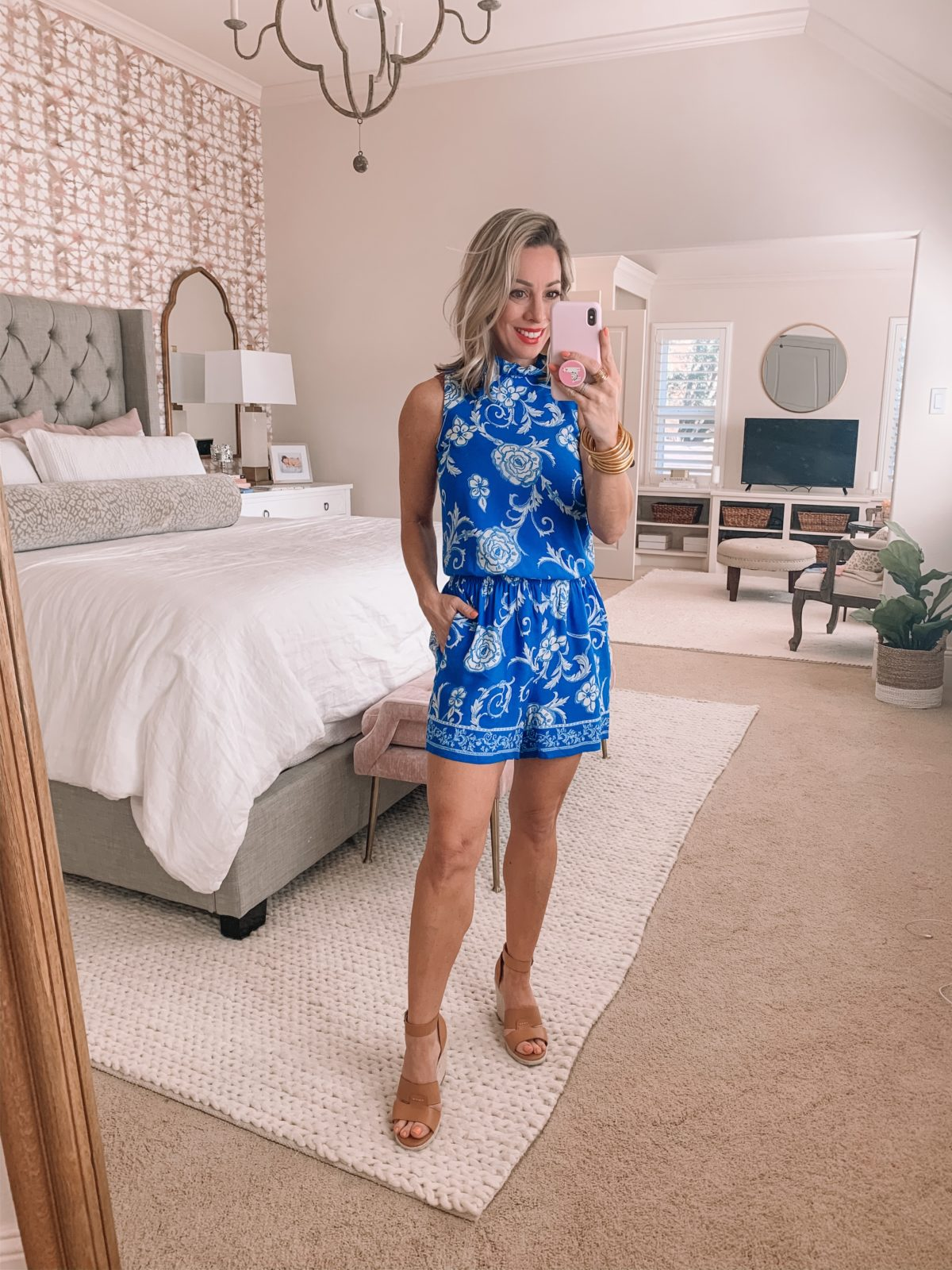 Blue Romper with White Floral Print, Wedges