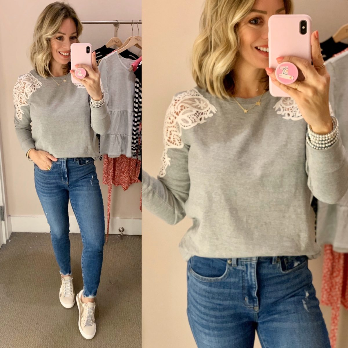 Grey Lace Shoulder Top, Skinny jeans, Star Sneakers