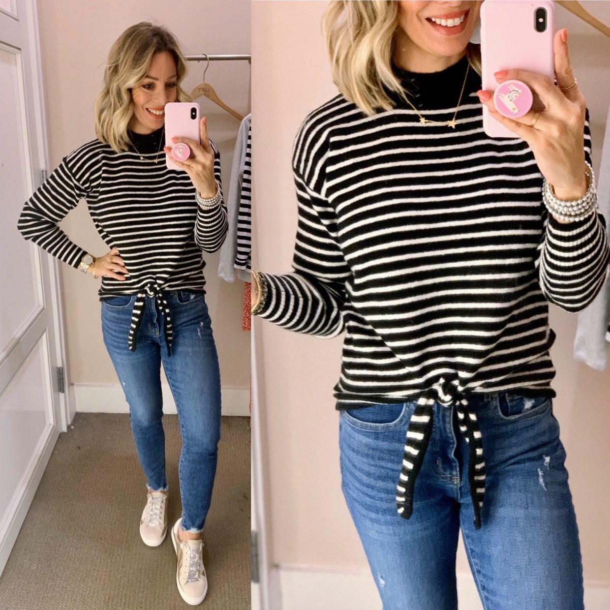 Black and White Stripe Tie Front Top, Skinny Jeans, Star Sneakers