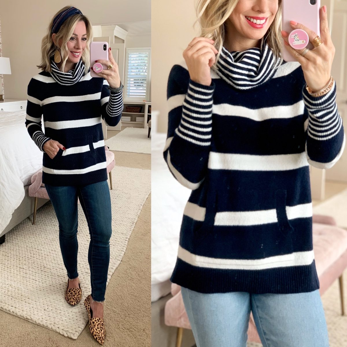 Navy and White Stripe Turtleneck Sweater, Skinny Jeans, Leopard Flats