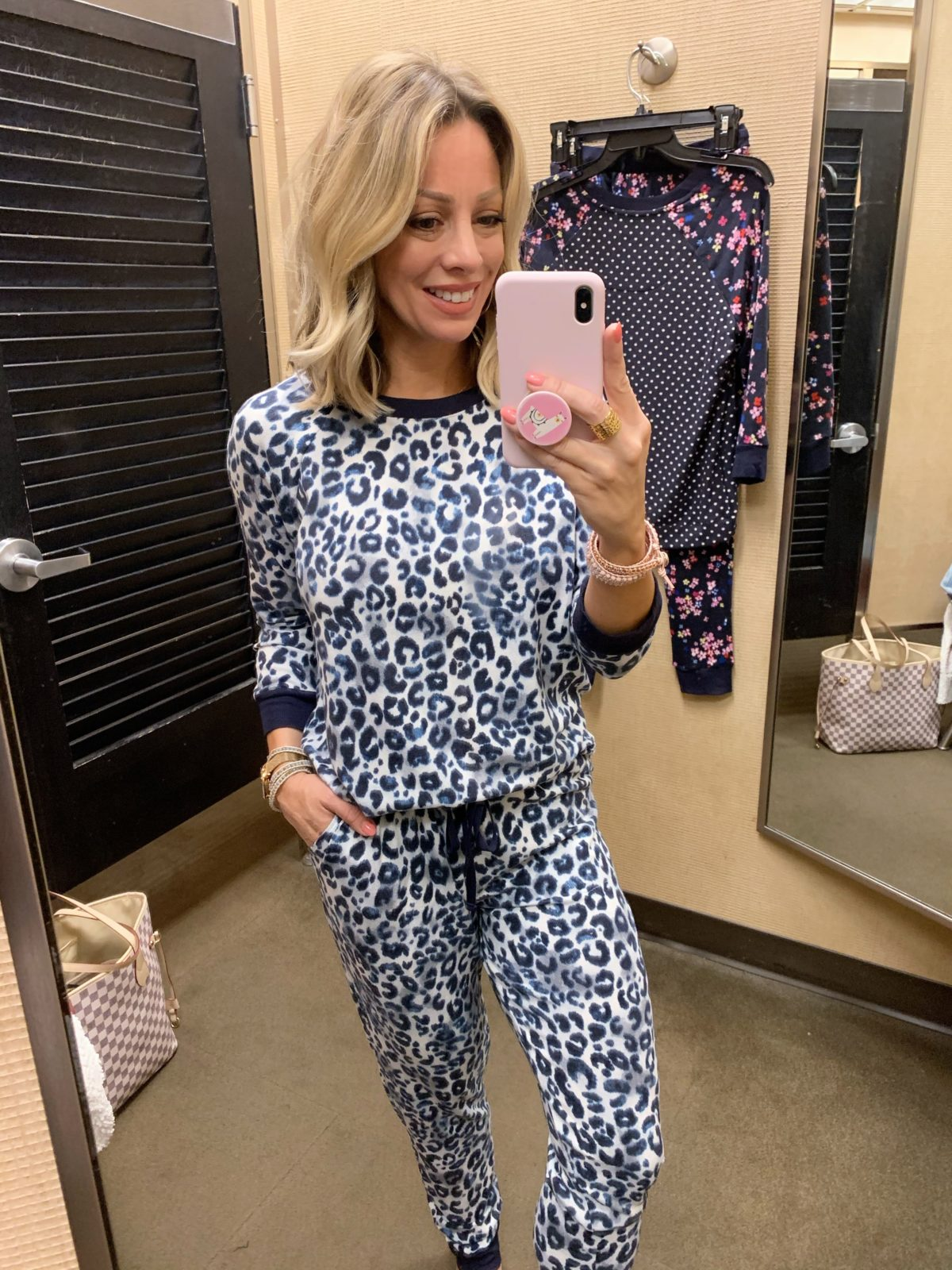 Blue Leopard Print Pajamas