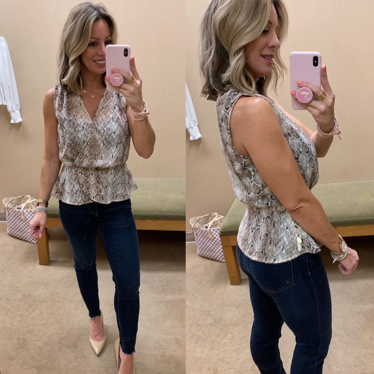Snake Print Peplum Top, KUT from Kloth curved hem skinny jeans, Nude Pumps