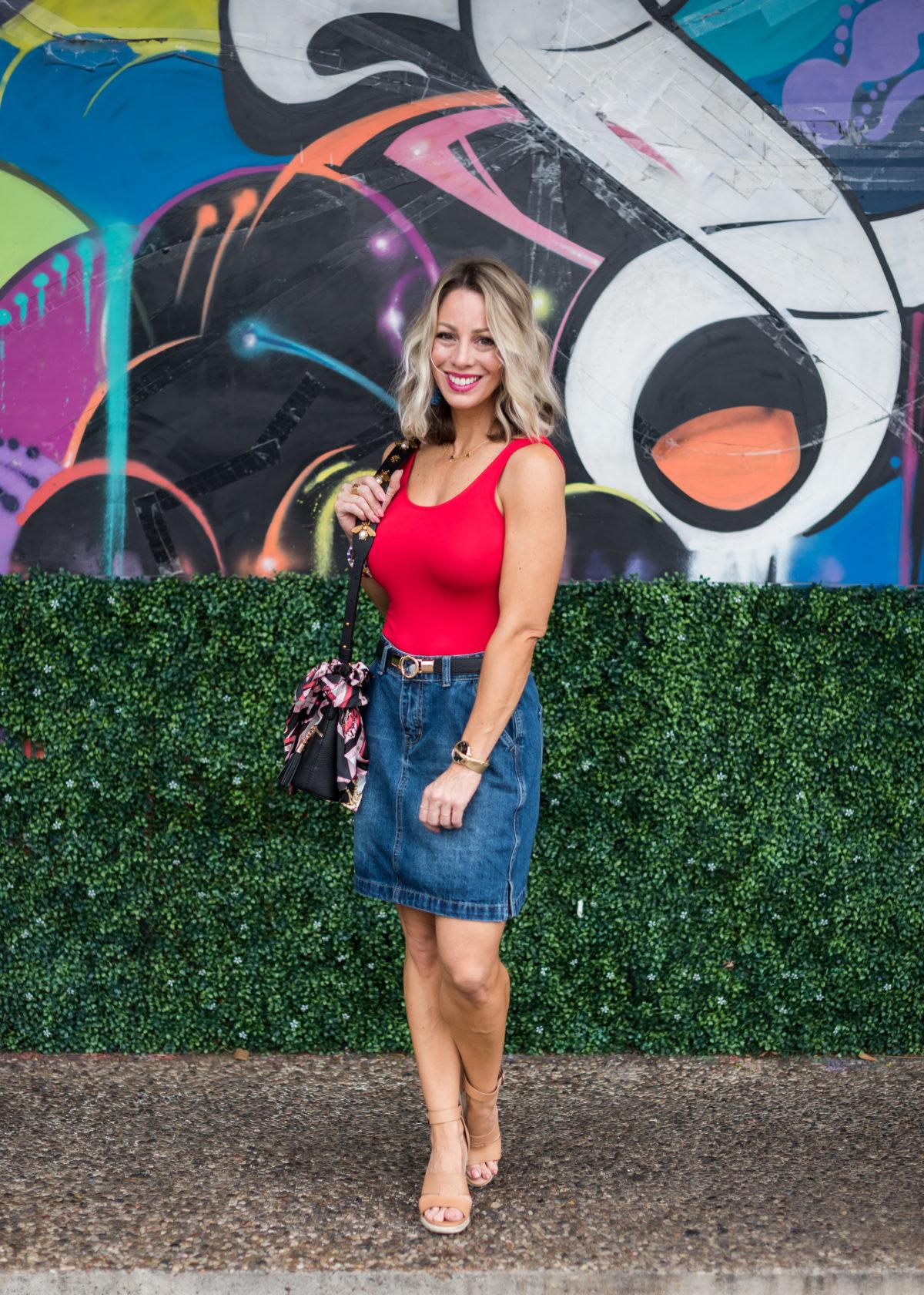 red bodysuit denim skirt Gibson x Hi Sugarplum