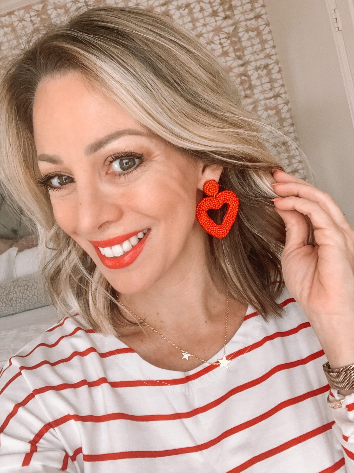 Red and White Stripe Top, Star Necklace, Heart Earrings