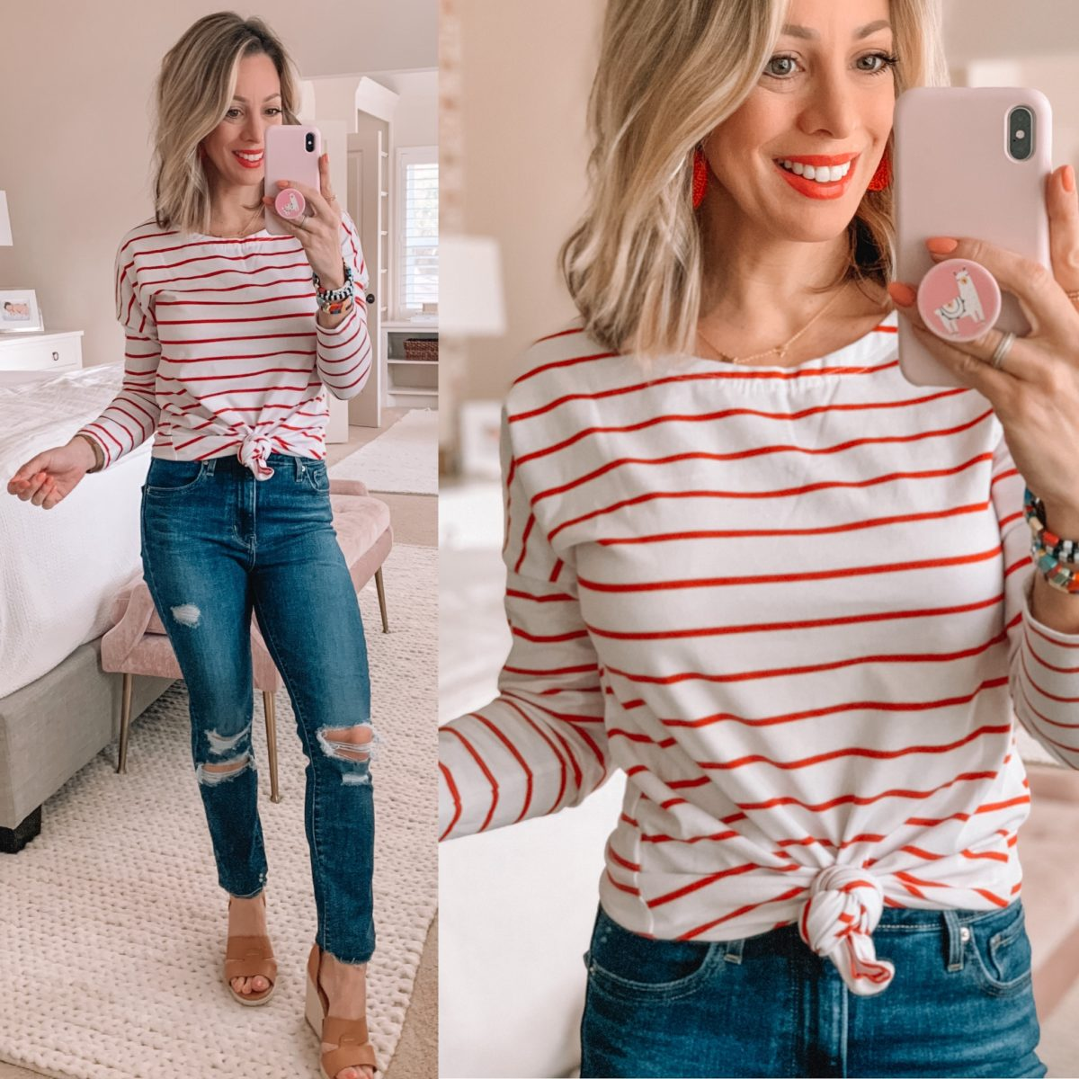 Red and White Stripe Top, Distressed Skinny Jeans, Wedges, Enamel bracelets