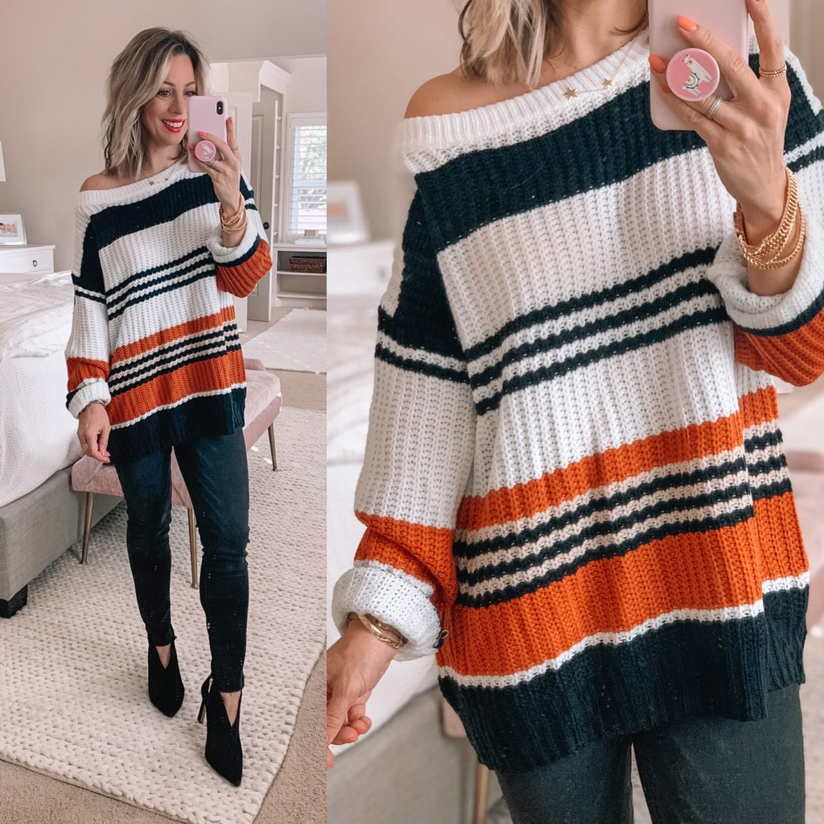 Striped Sweater off the shoulder, Black Jeans, Black Booties