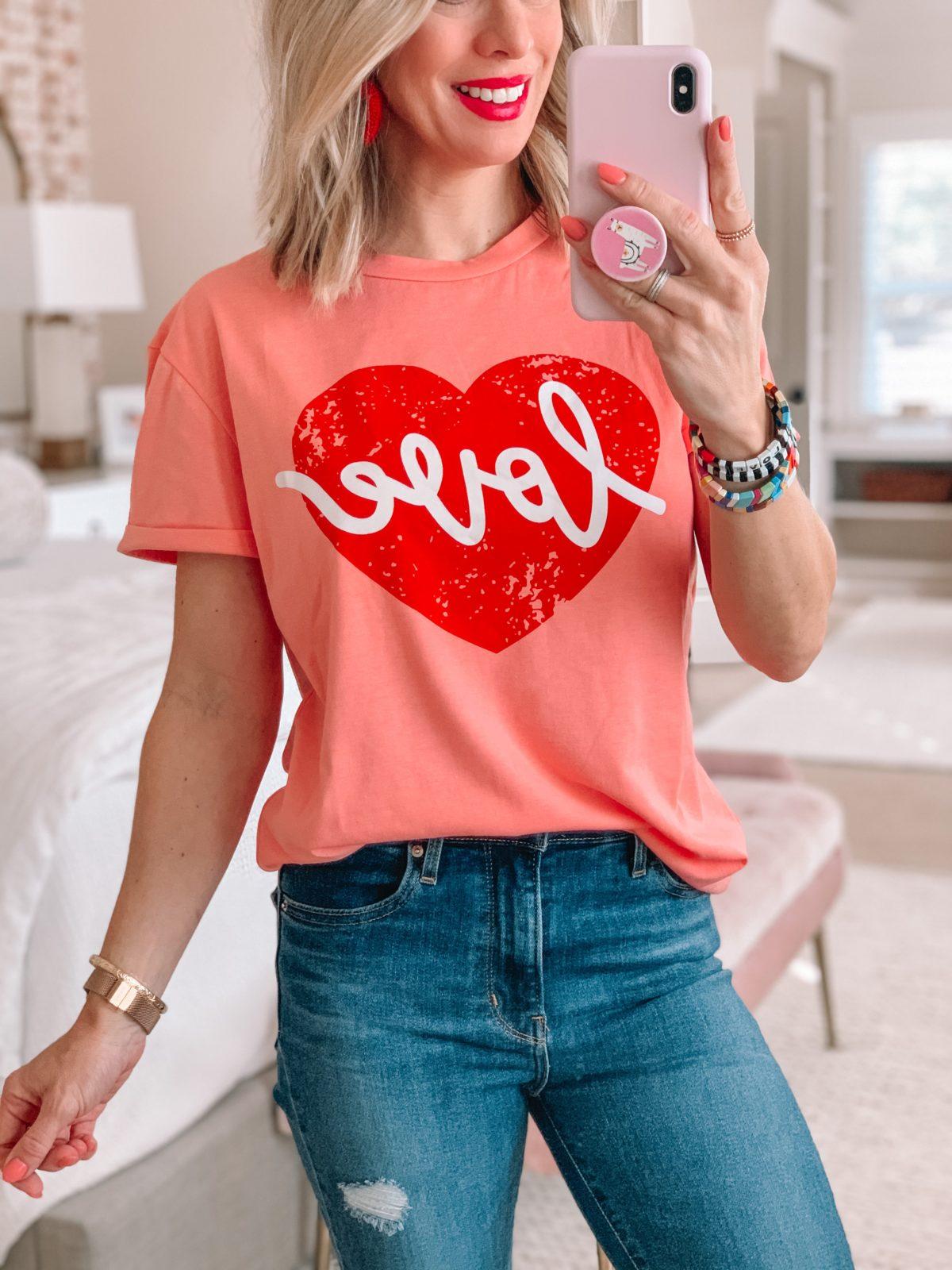 Love Tee, Jeans, Enamel Bracelets