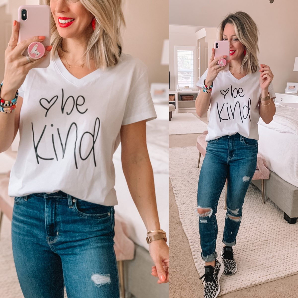Be Kind Tee, Distressed Jeans, Sneakers