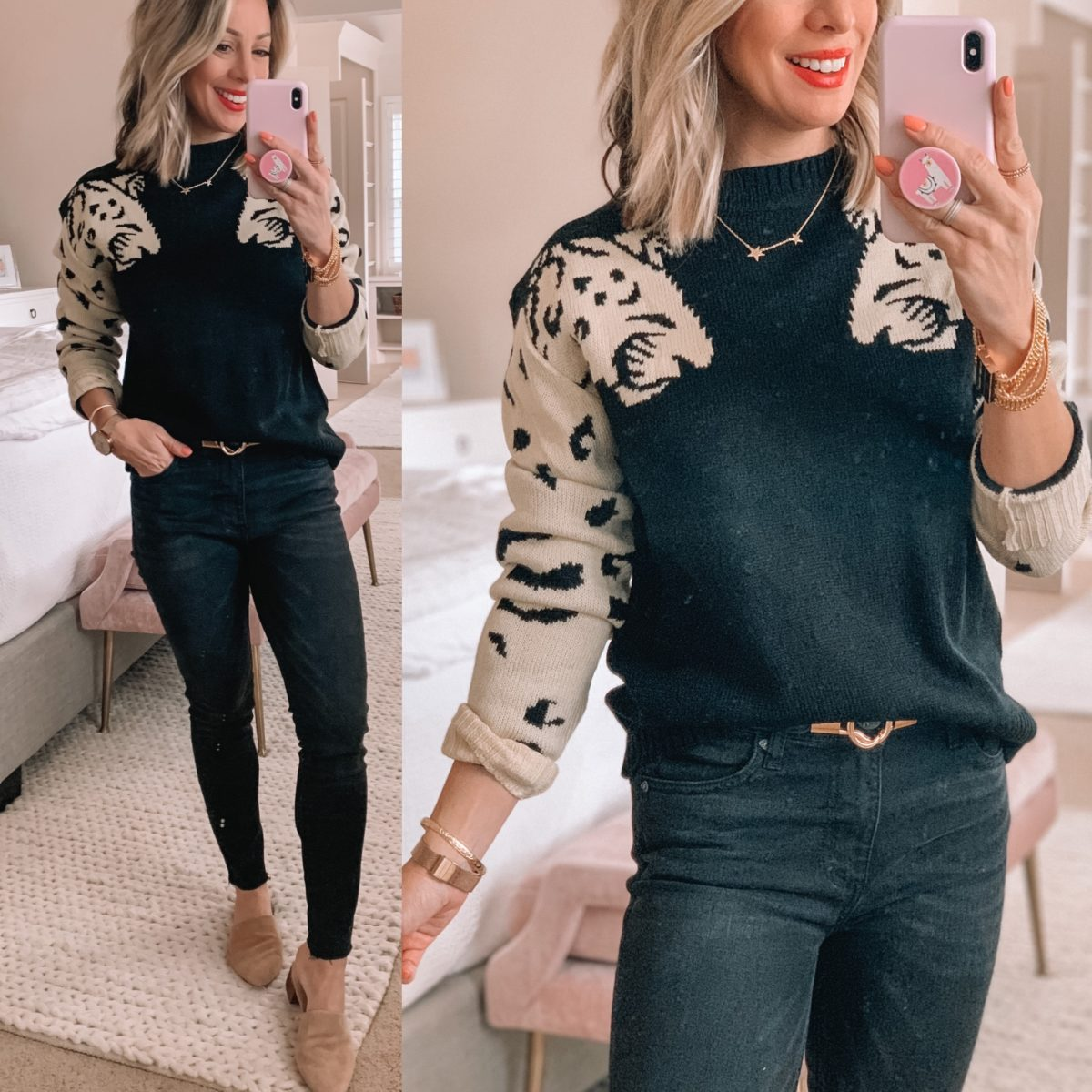 Leopard Sweater, Black Jeans, Mules, Star Necklace