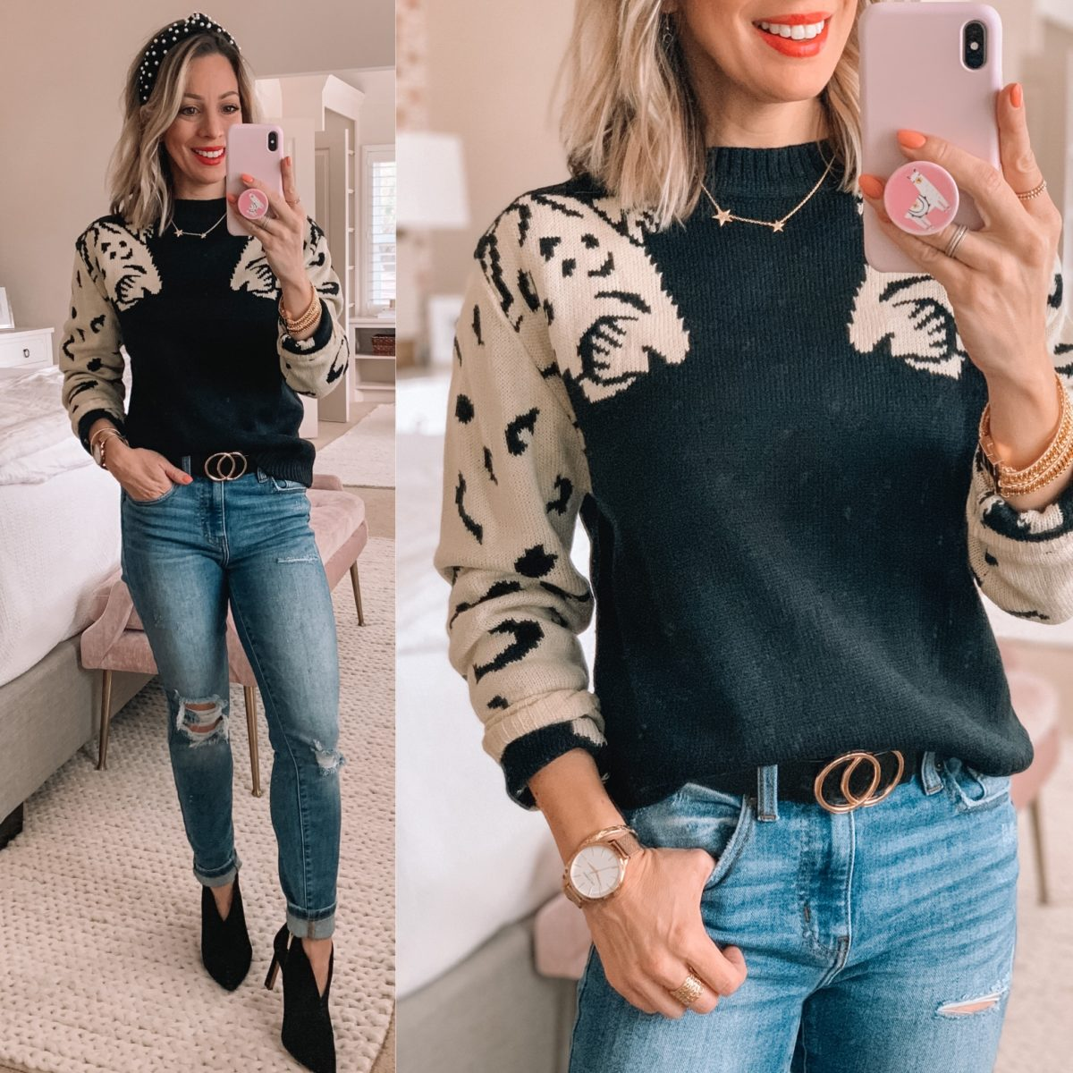 Leopard Sleeve Sweater, Distressed Blue Jeans, Black Booties, Star Necklace