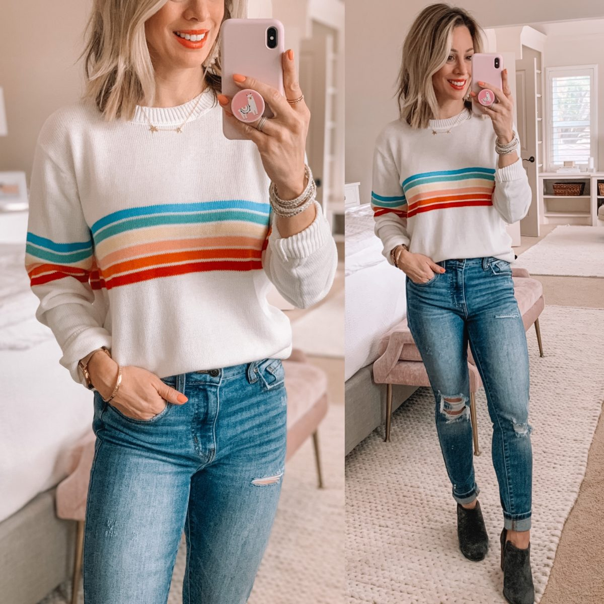 Rainbow Stripe Sweater, Distressed Jeans, Grey Booties