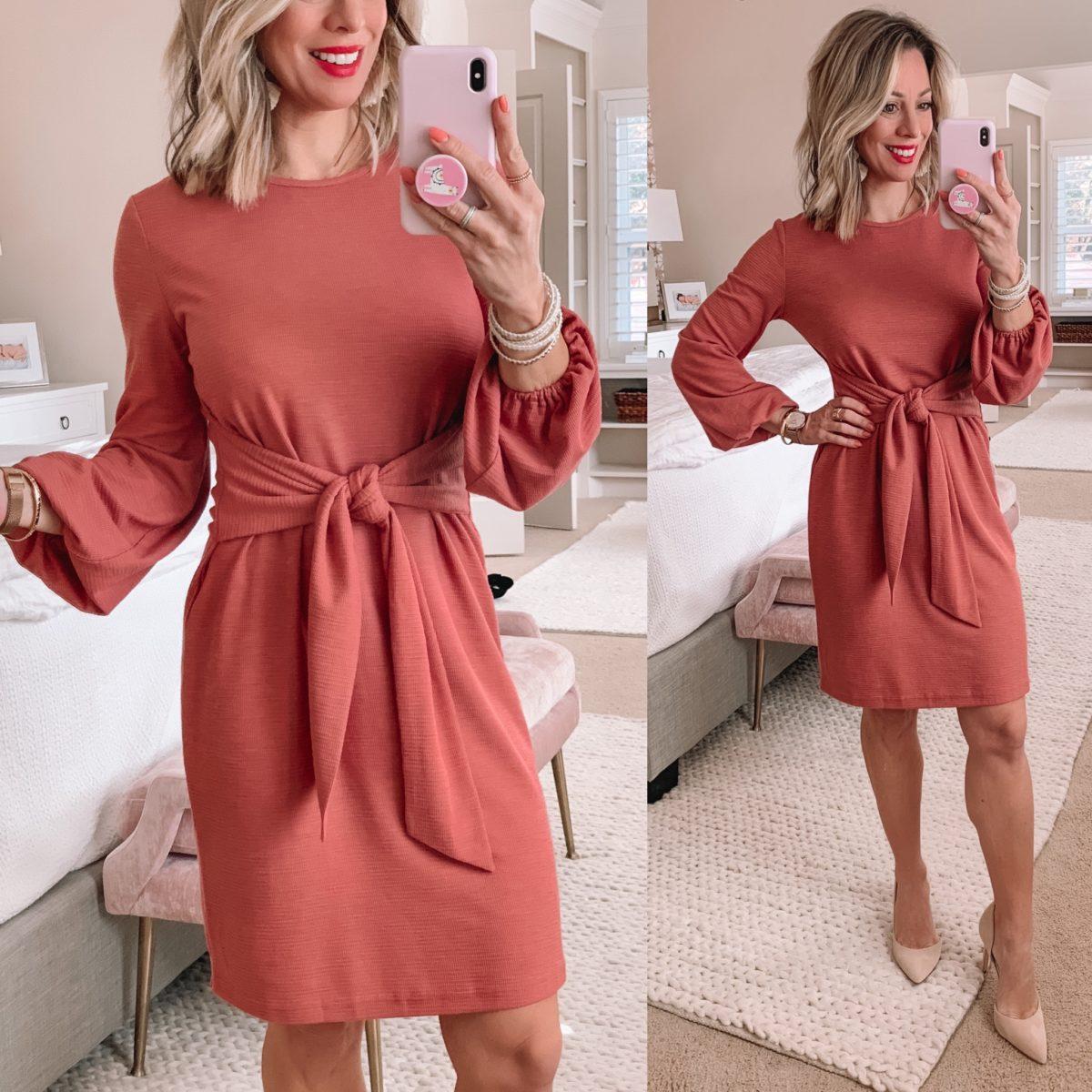 Pink Tie Front Sweater Dress, Nude Heels