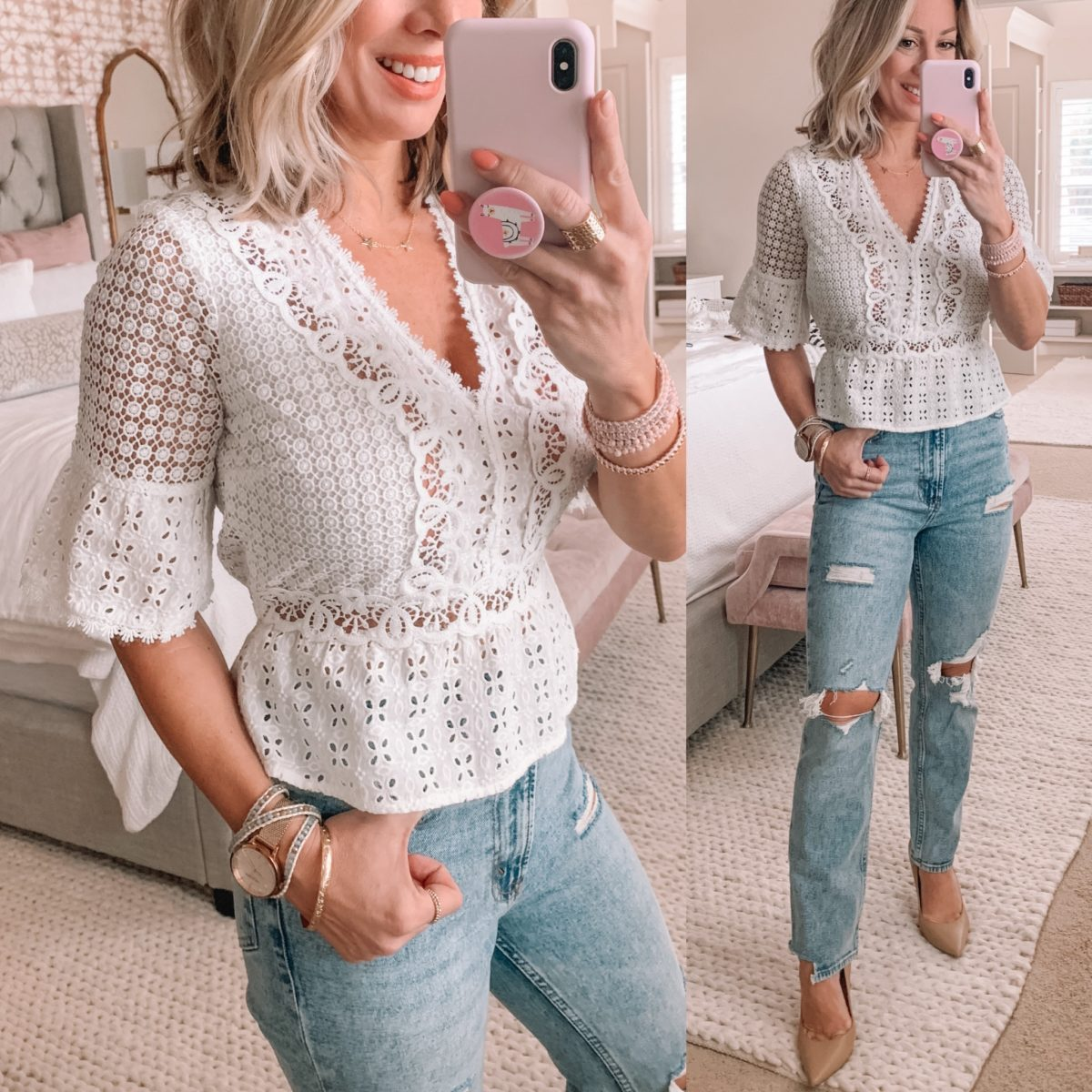 White Lace Peplum Top, Distressed Jeans, Nude Heels