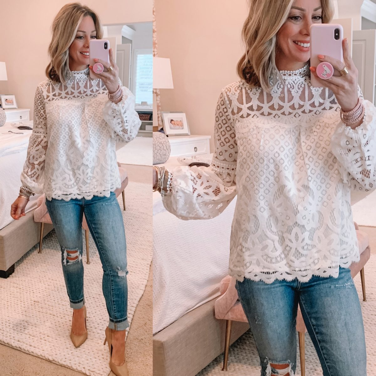 White Lace Top, Distressed Jeans, Nude Heels