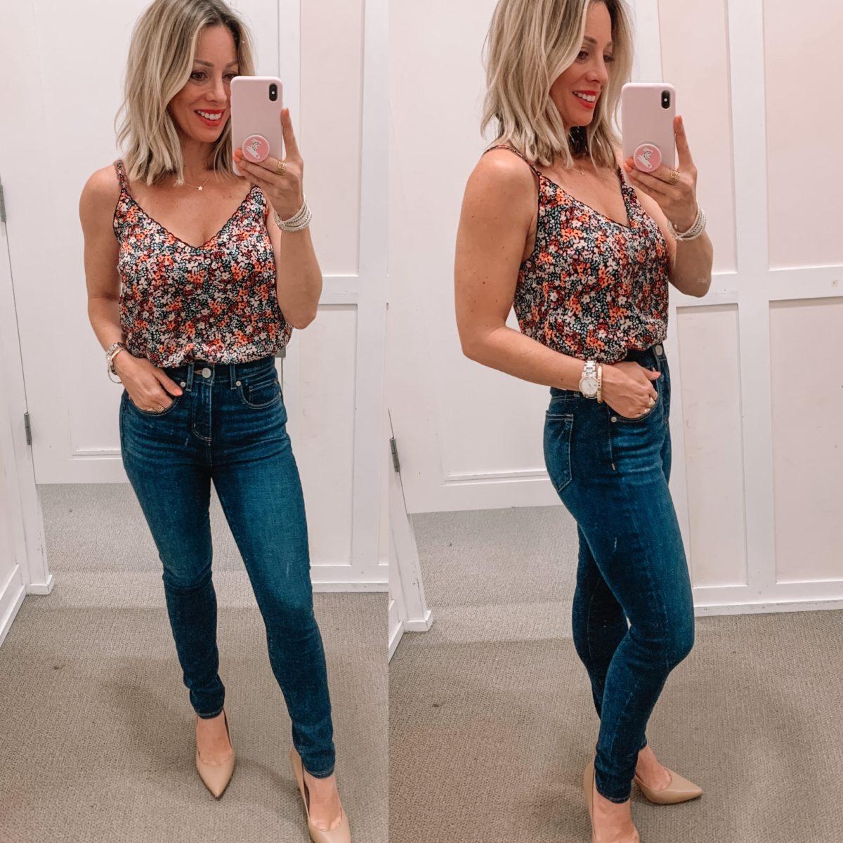 Floral Tank, Skinny Jeans, Nude Heels