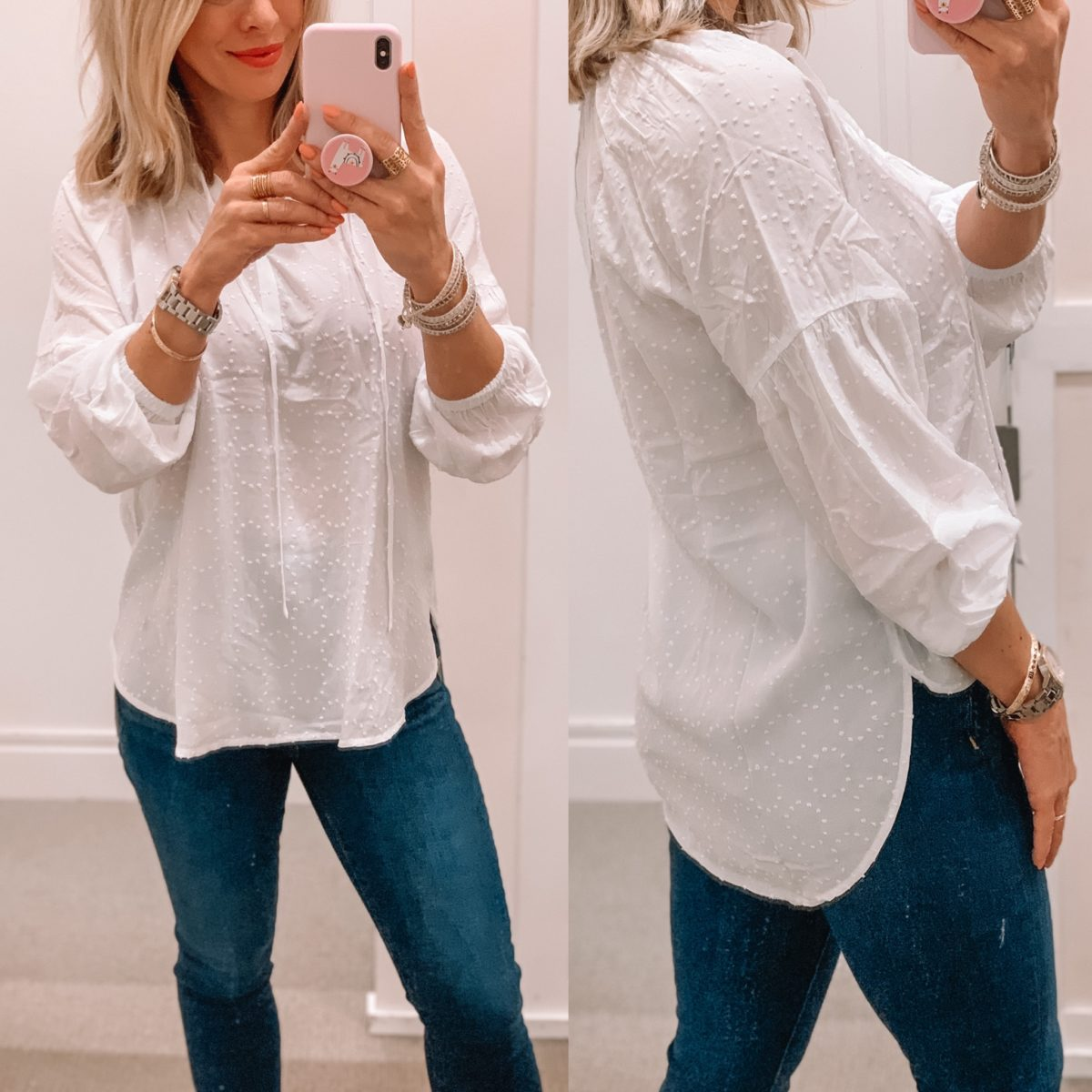 Clip Dot Split Neck Top, Skinny Jeans