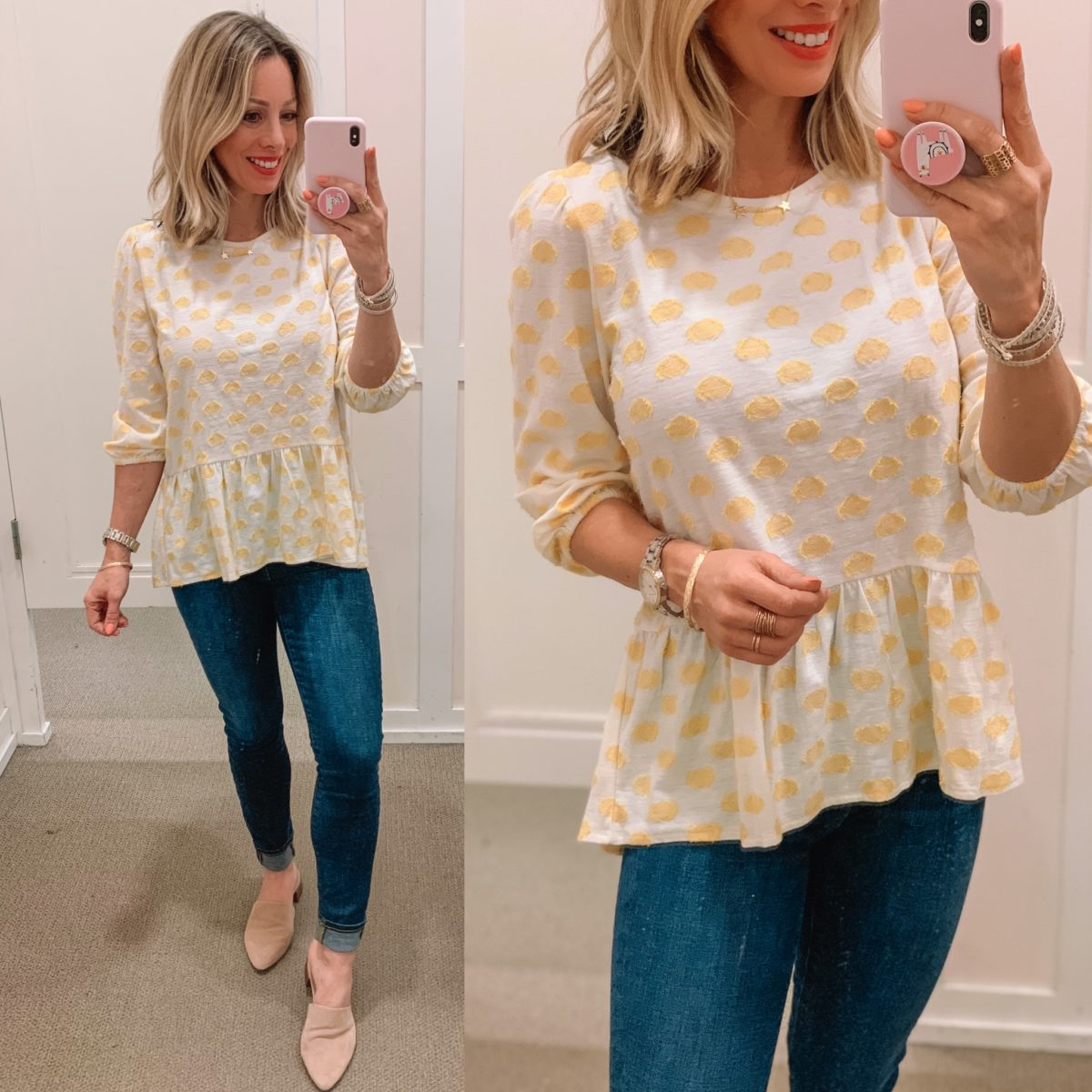 Yellow Polka Dot Peplum Top, Skinny Jeans, Mules