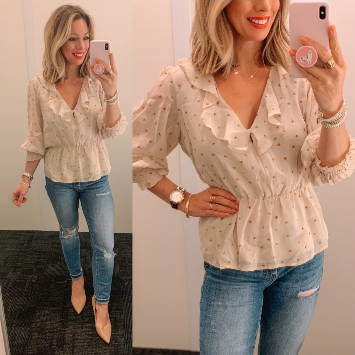 V-neck Ruffle Peplum top, Distressed Jeans, Nude Heels