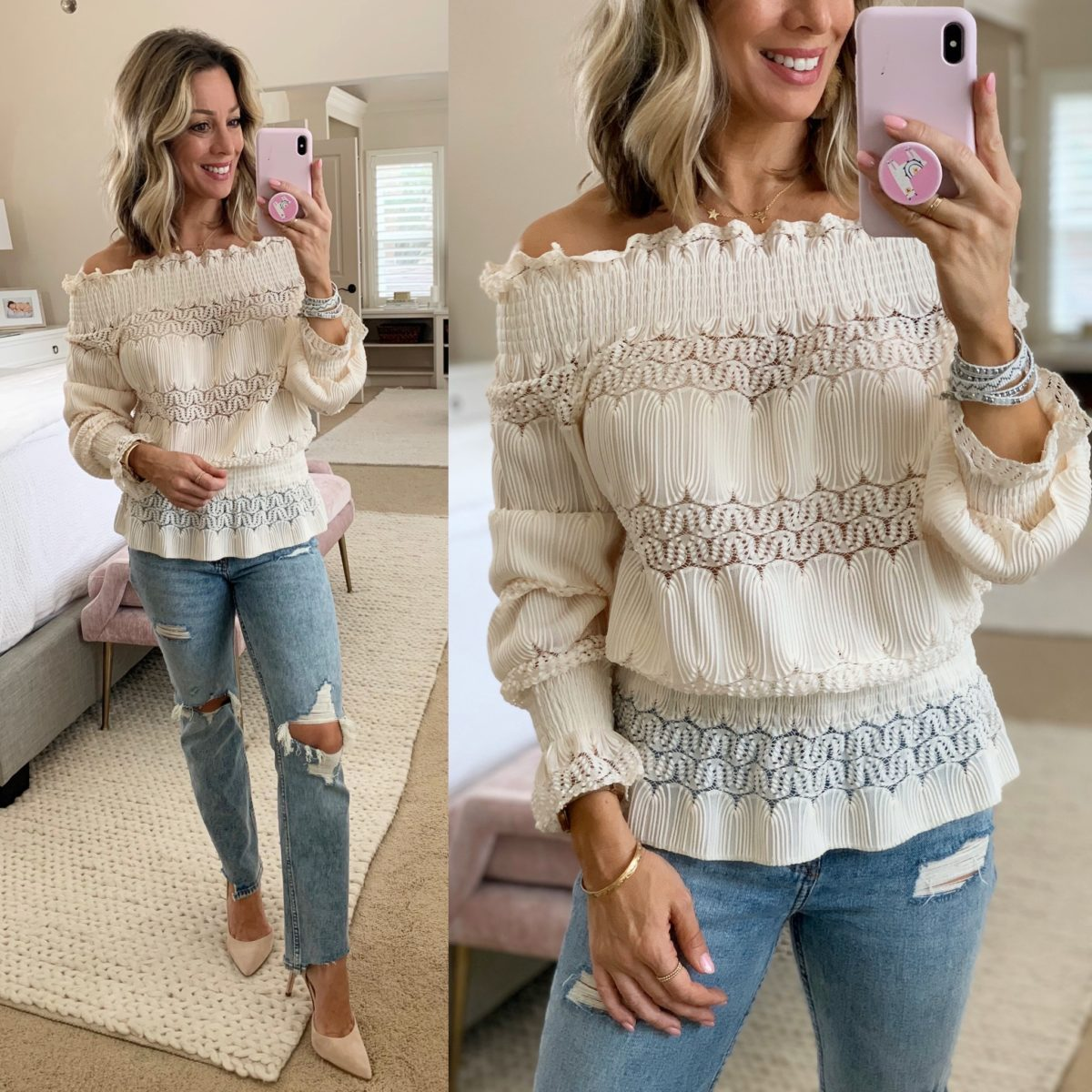 Off Shoulder Peplum Blouse, Distressed Mom Jeans, Blush Heels