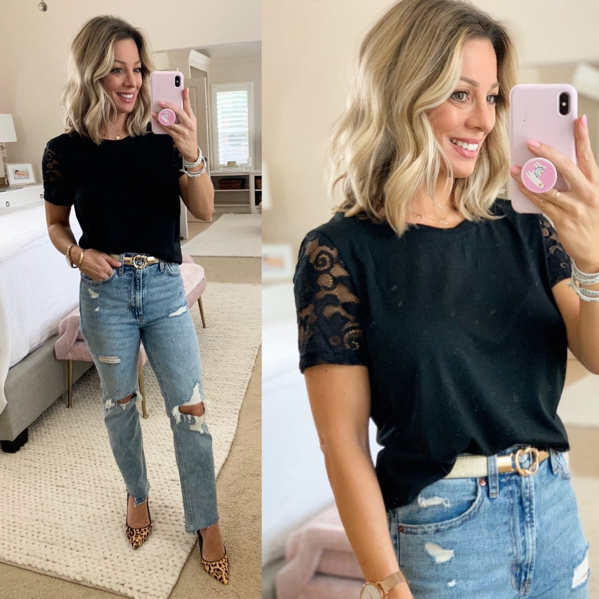 Lace Short Sleeved Top, Mom Jeans, Leopard Heels
