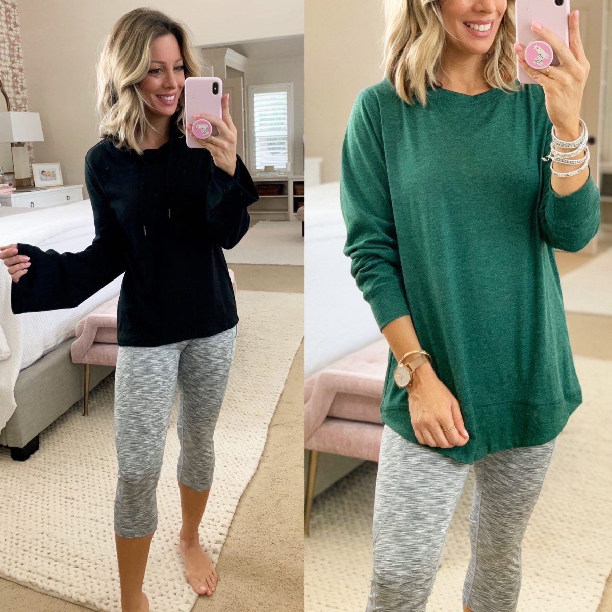 Black Bell Sleeved Pullover, Cropped Leggings, Green Tunic Shirt
