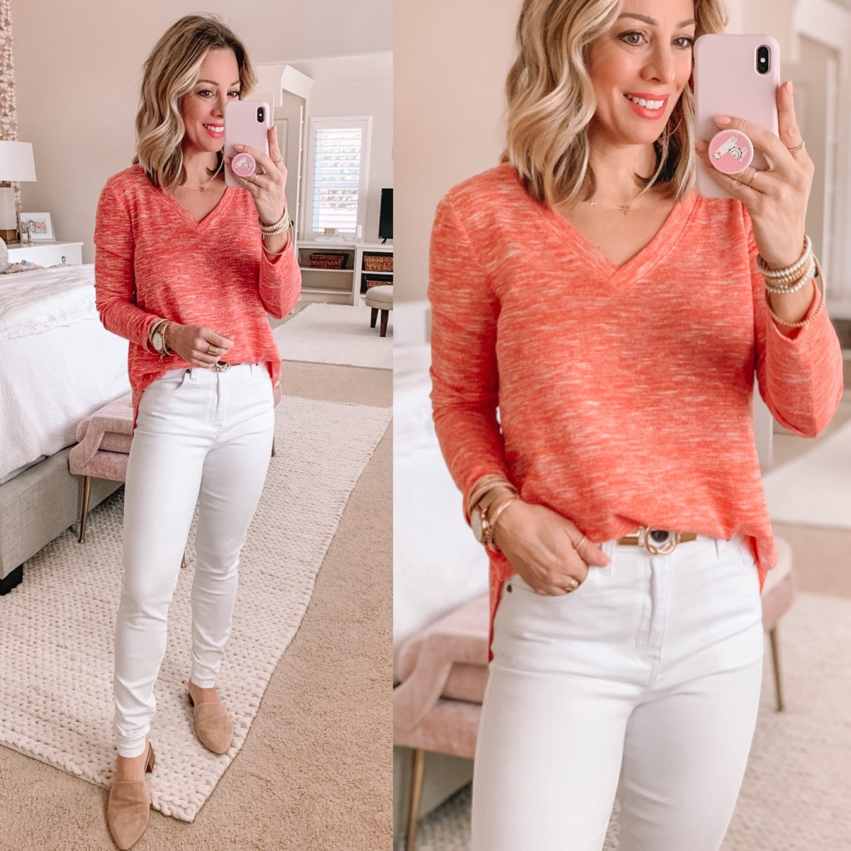 Coral Tuni V-neck Top, White Jeans, Nude Mules