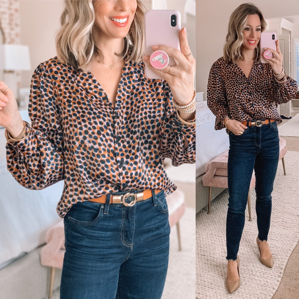 Animal Print Smudge Blouse, Curved Hem Skinny Jeans, Nude Pumps