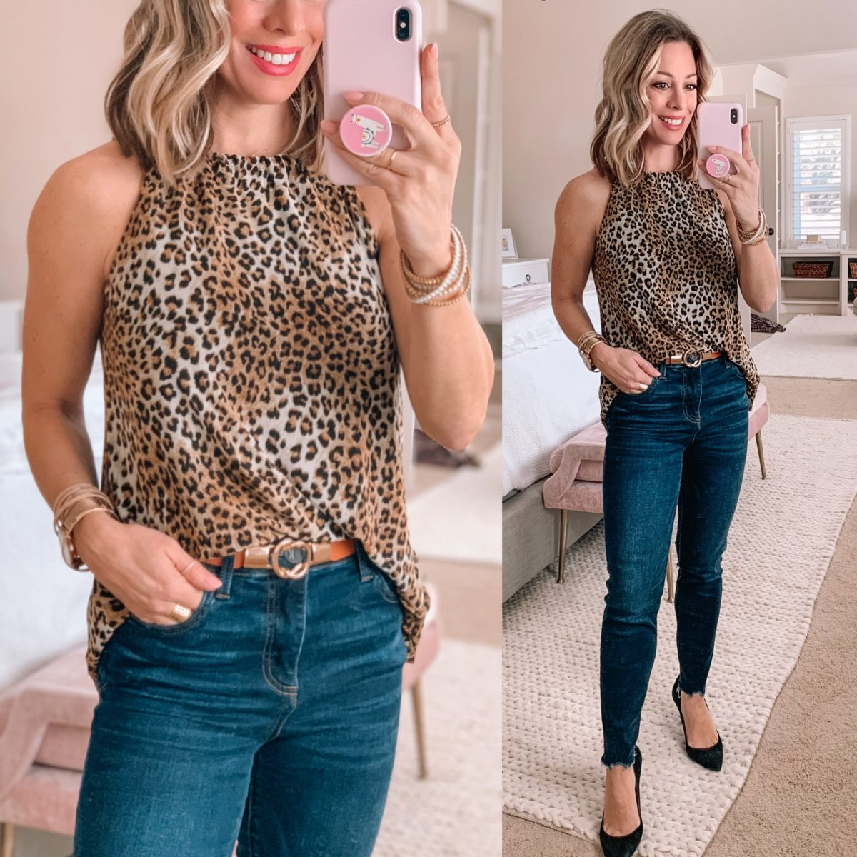 Leopard Sleeveless Top, Curved Hem Skinny Jeans, Black Pumps