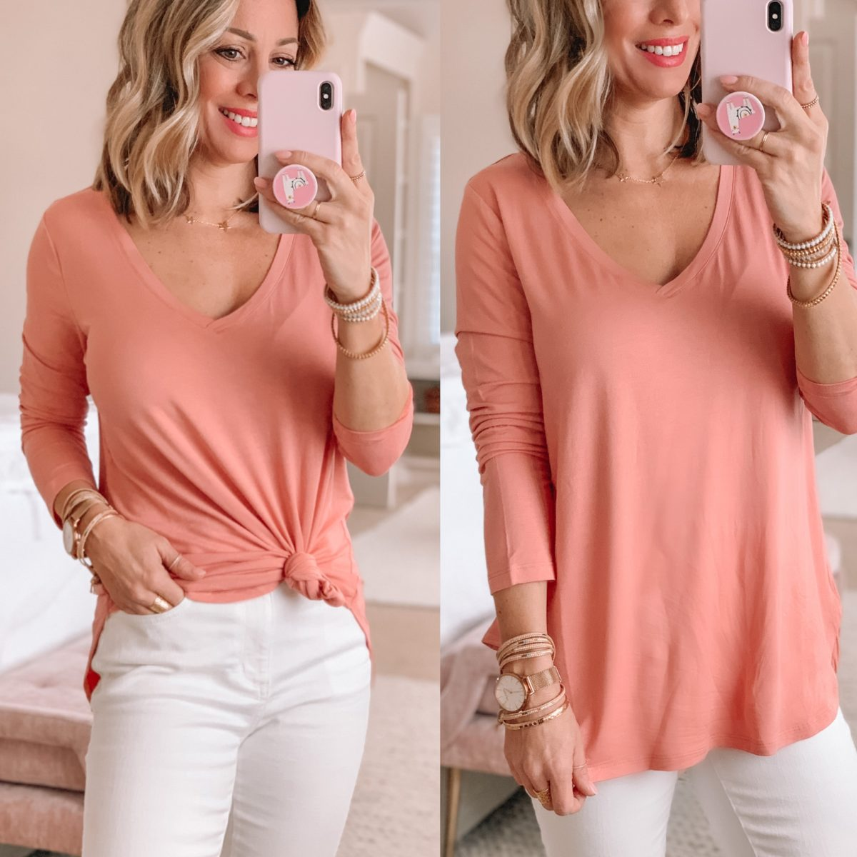 V-neck Long sleeve Tunic Top, White Jeans