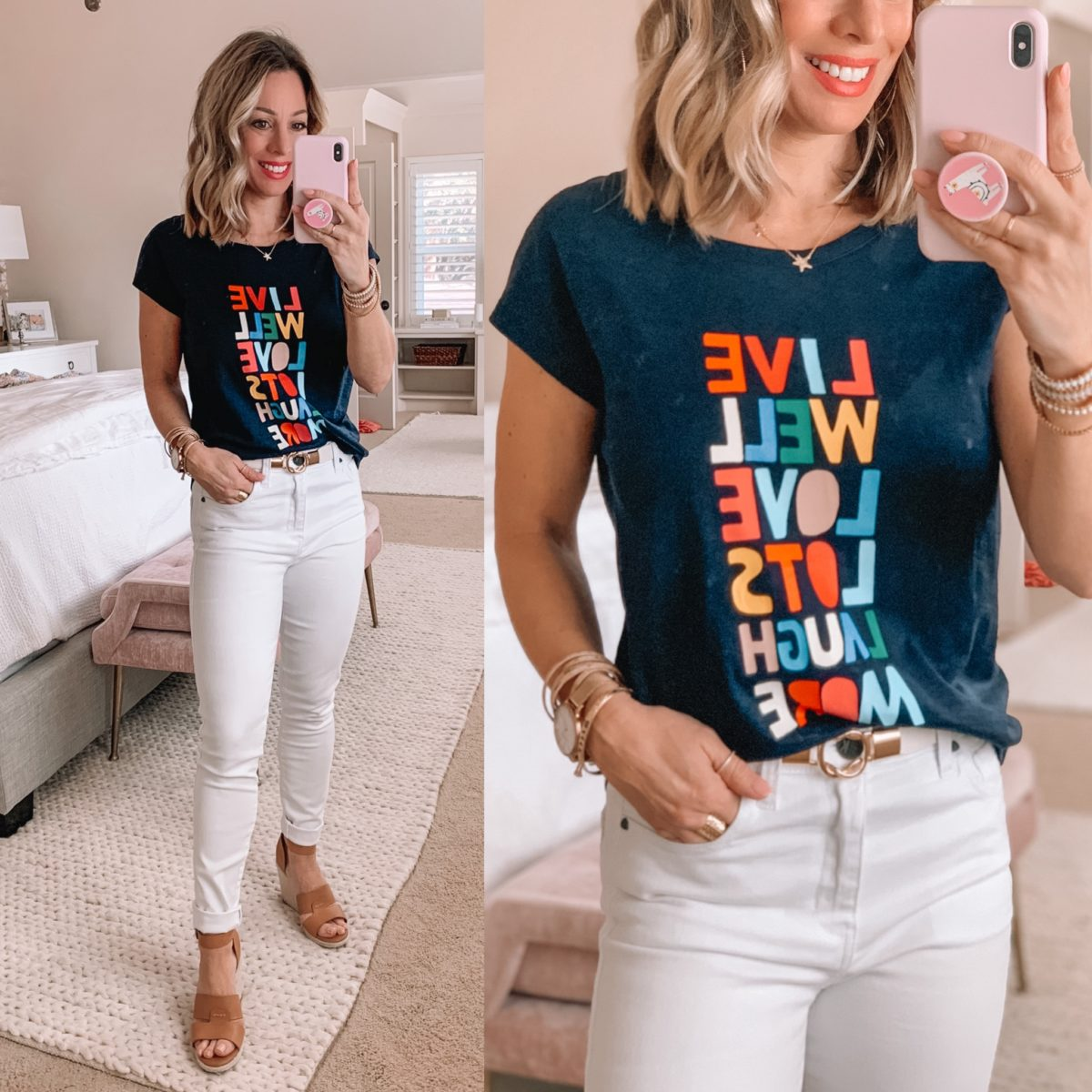 Graphic Tee, White Skinny Jeans, Wedge Heels, Star Necklace