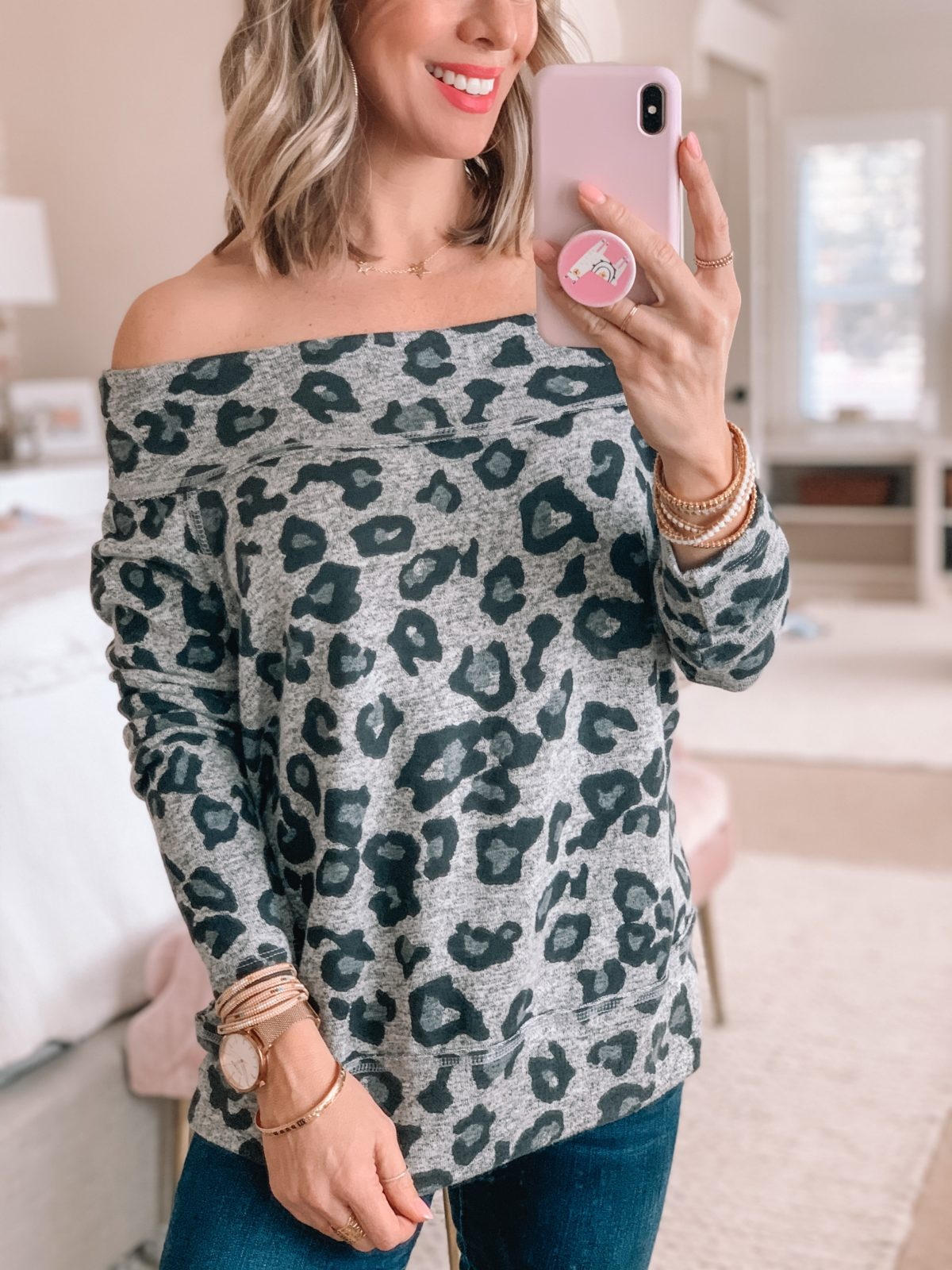 Off Shoulder Leopard Tunic Grey