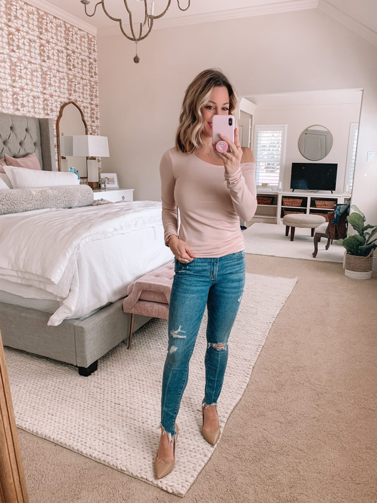 One Shoulder Long Sleeve Top Fitted, Distressed Skinny Jeans, Nude Pumps